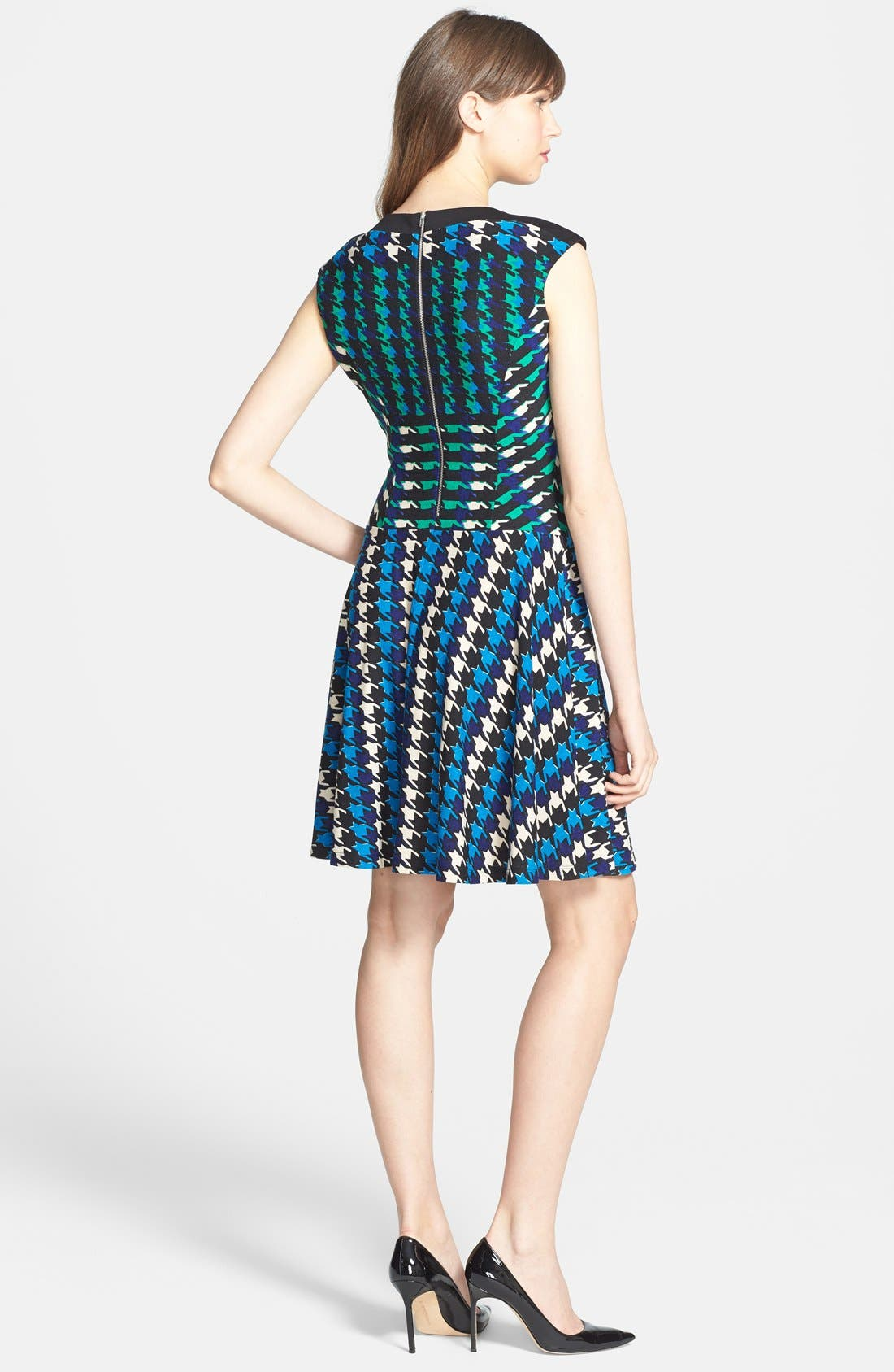 Alternate Image 2  - Gabby Skye Houndstooth Print Ponte Knit Fit & Flare Dress