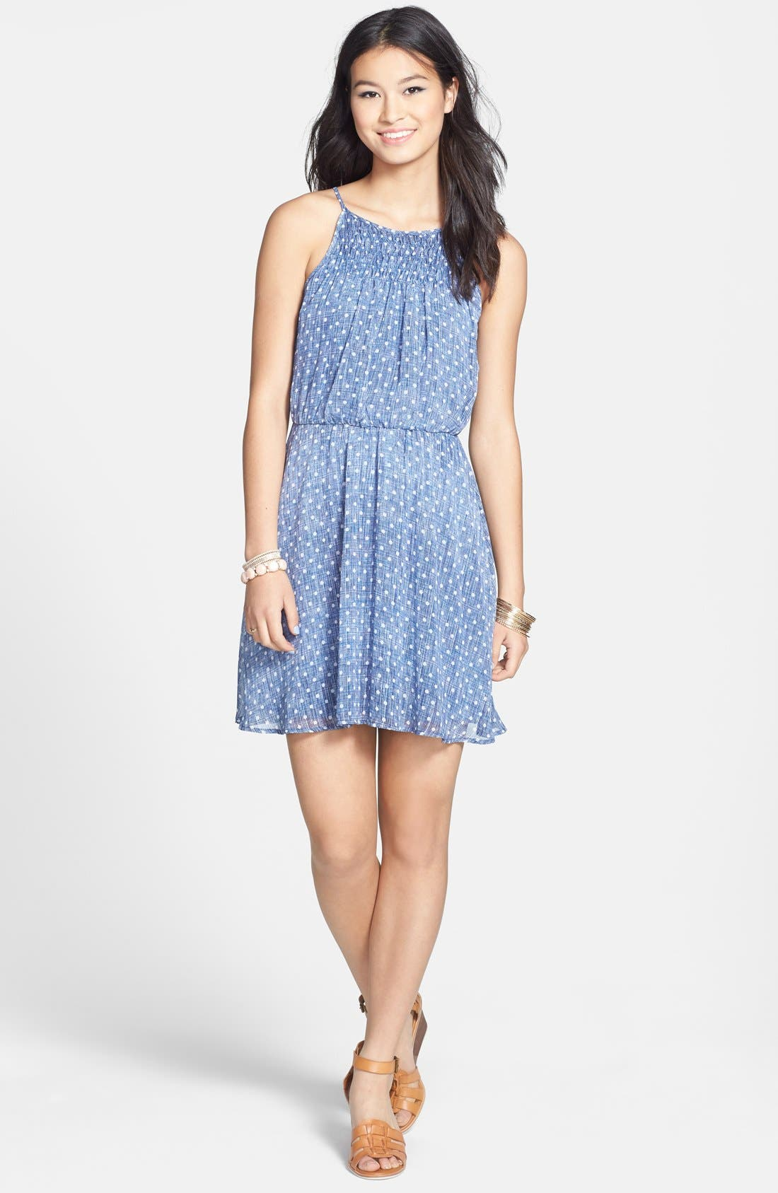 Alternate Image 1 Selected - dee elle Polka Dot Smocked Skater Dress (Juniors)