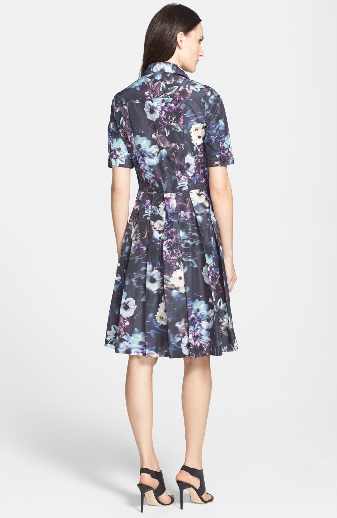 Alternate Image 2  - Pink Tartan 'Midnight Floral' Print Fit & Flare Shirtdress