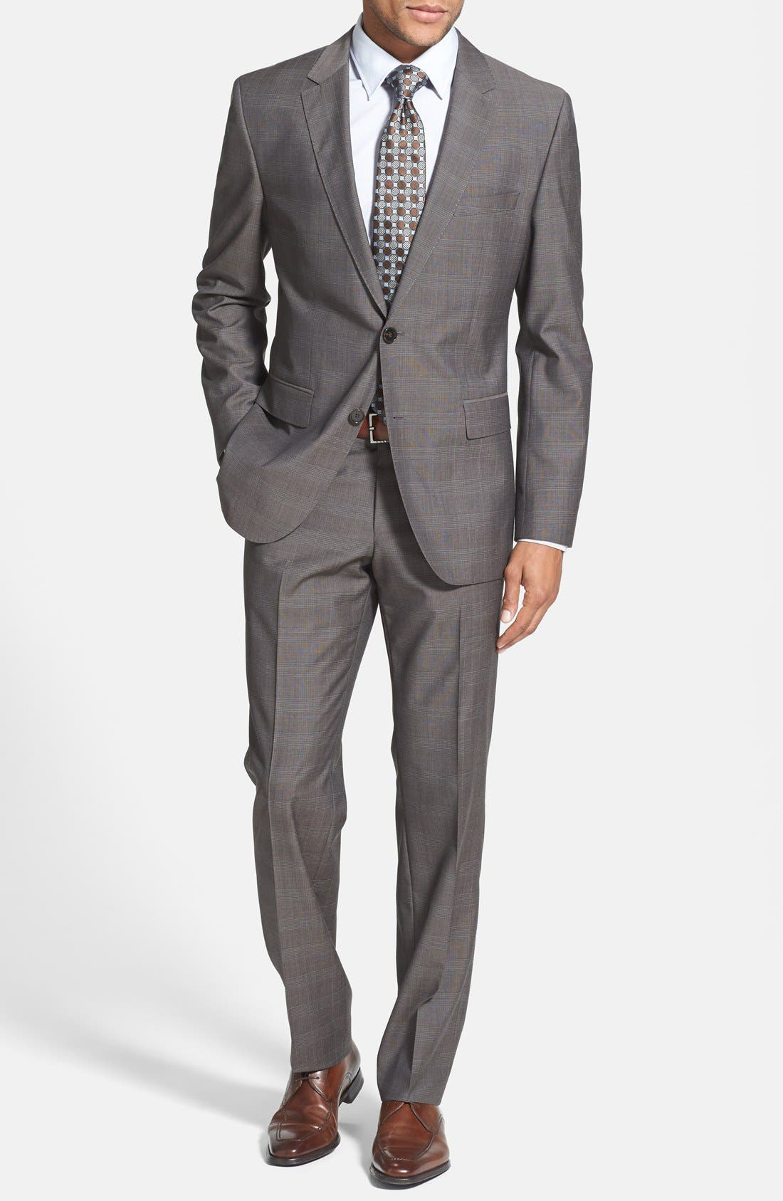 Alternate Image 1 Selected - BOSS HUGO BOSS 'James/Sharp' Trim Fit Plaid Suit (Online Only)