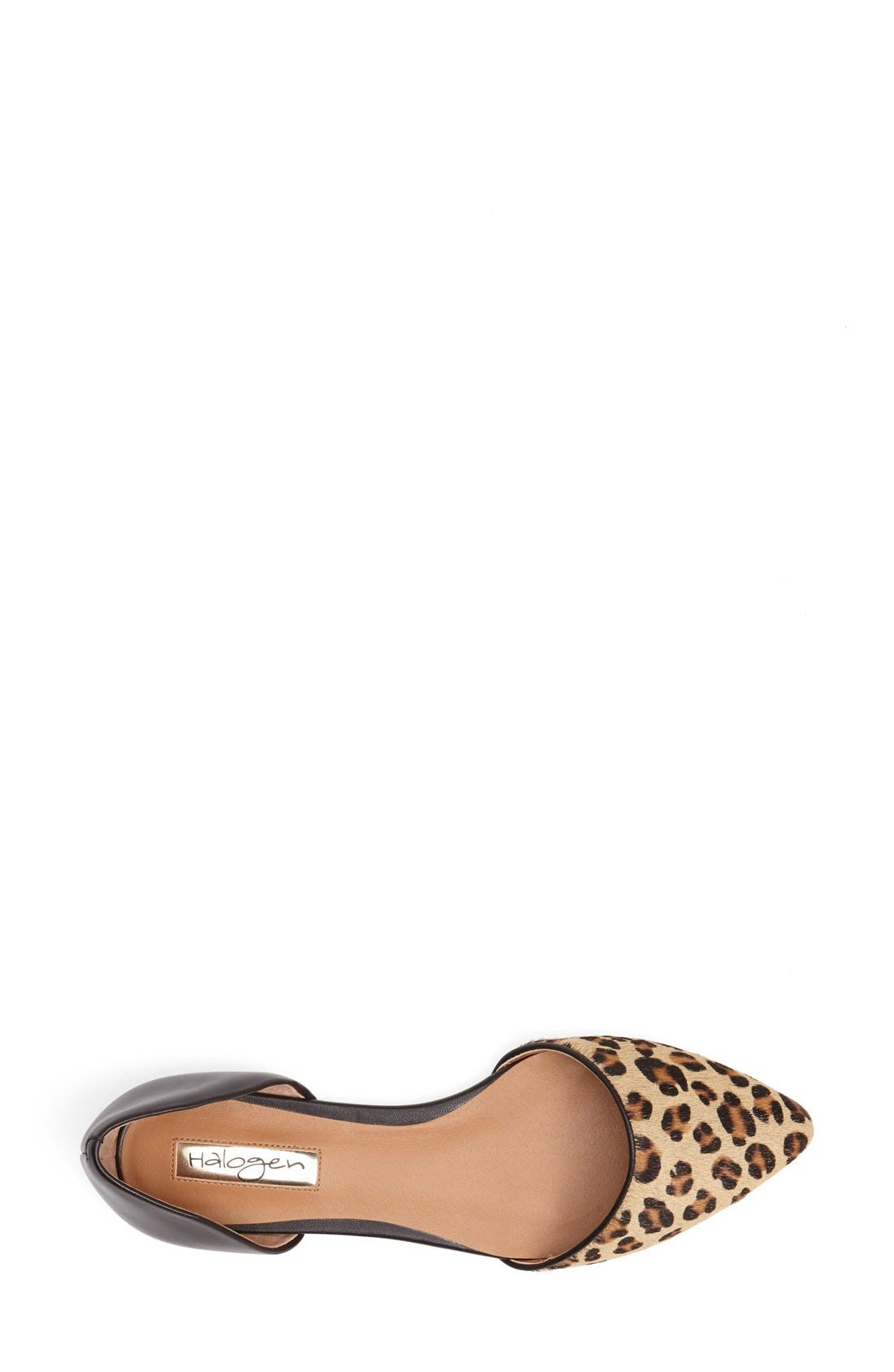 'Kayla' Leather & Calf Hair Pointy Toe Flat,                             Alternate thumbnail 3, color,                             Tan Leopard Combo