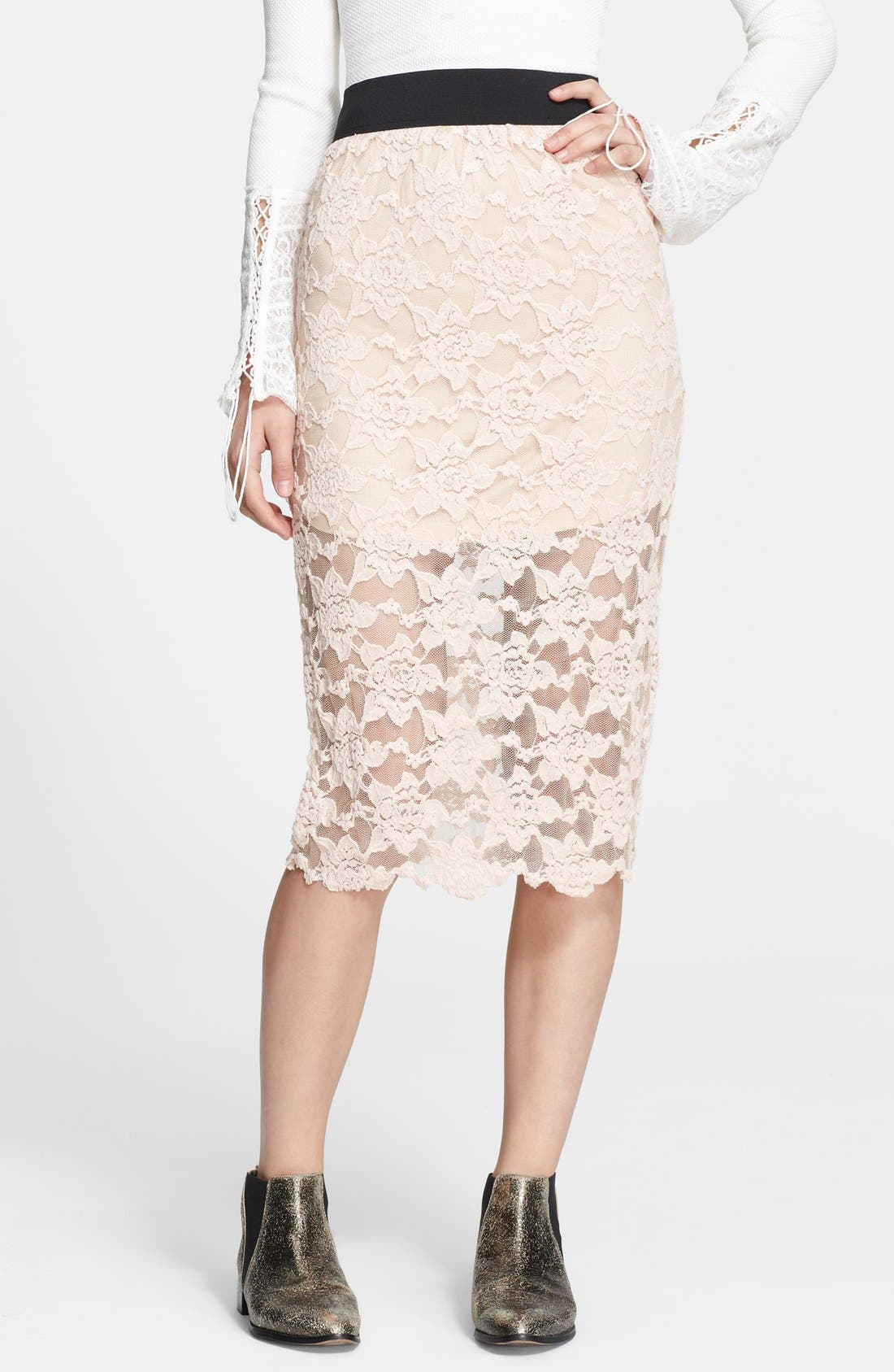 Alternate Image 1 Selected - Free People Lace Pencil Skirt