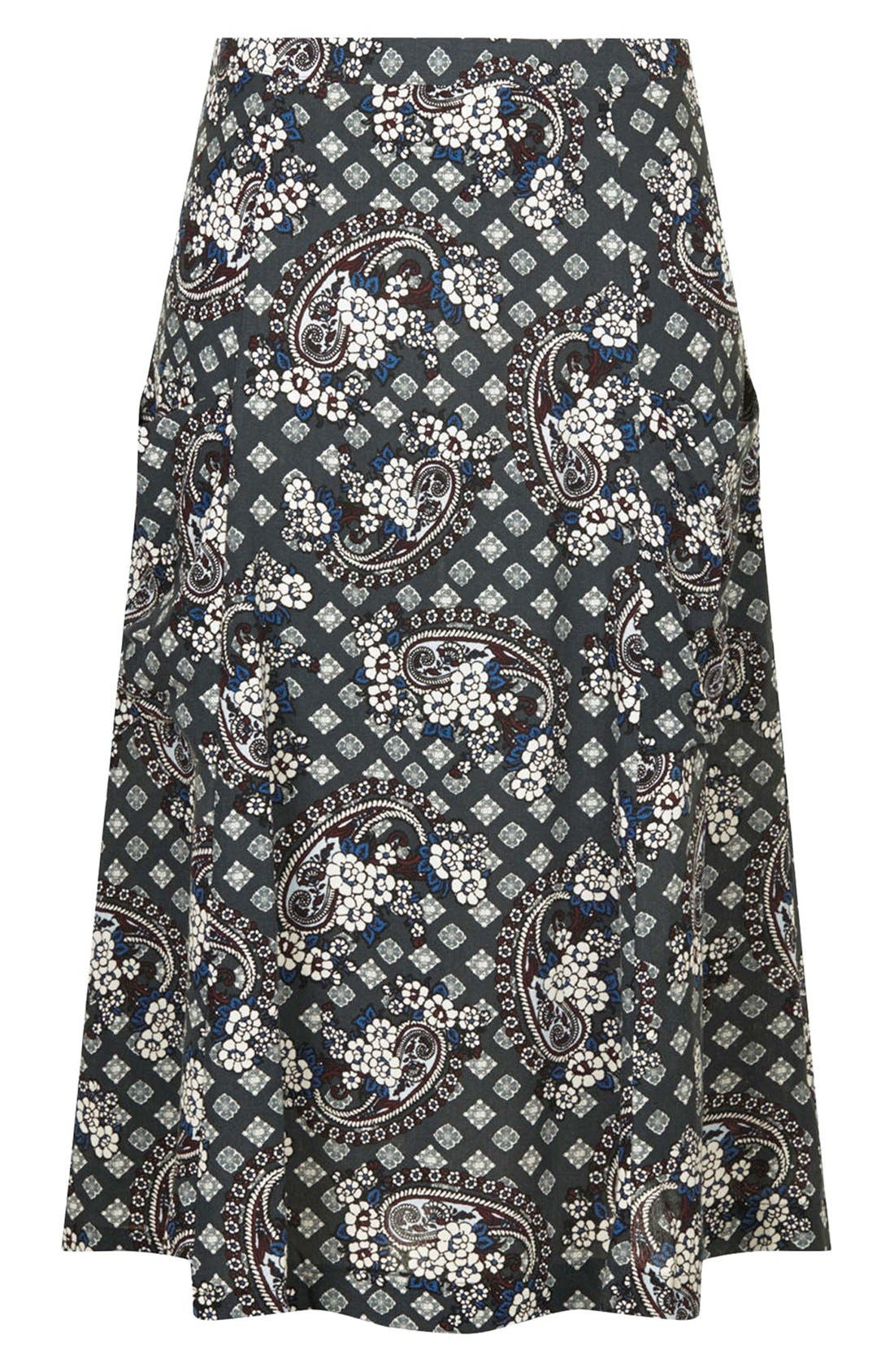 Alternate Image 3  - Topshop Tile Print Midi Skirt
