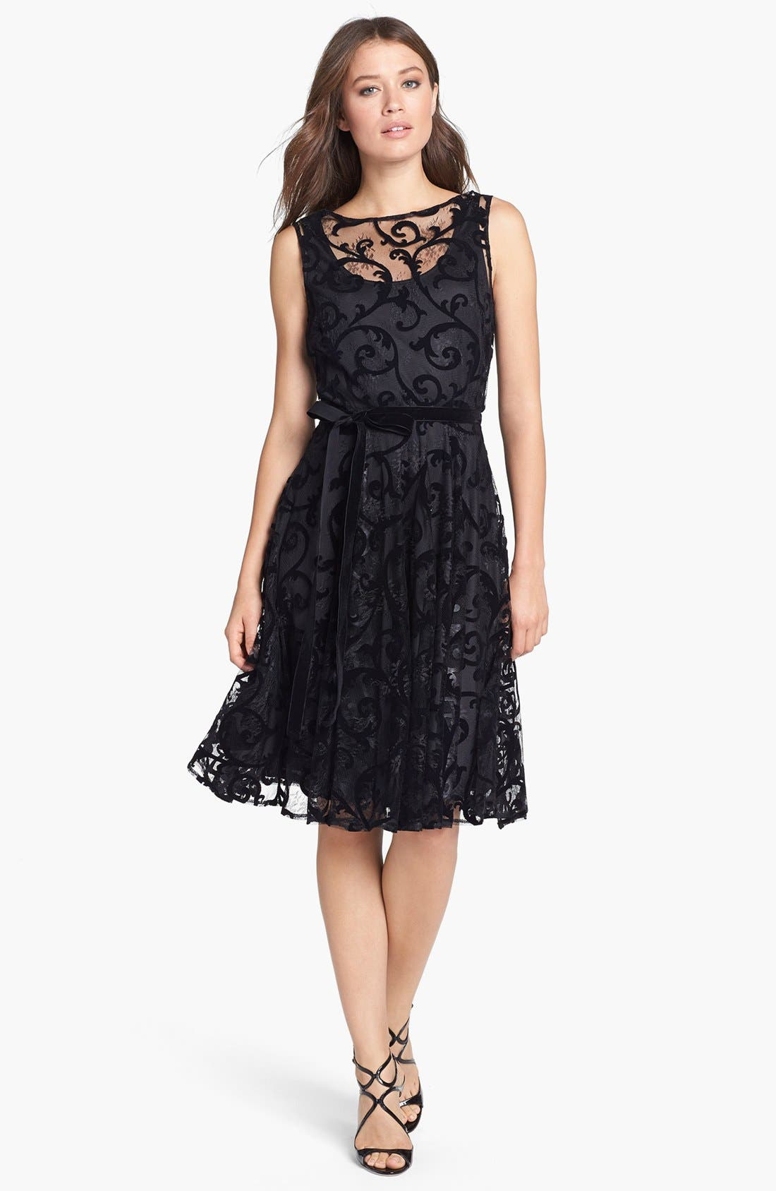 Main Image - Isaac Mizrahi New York Lace Burnout Fit & Flare Dress (Petite)