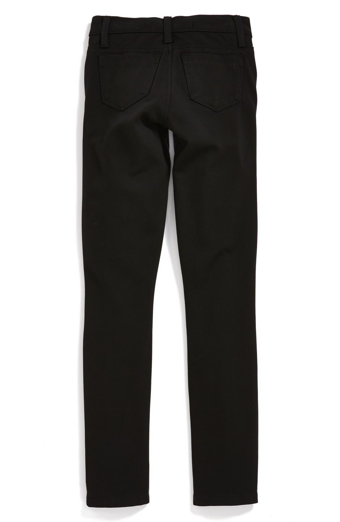 Alternate Image 2  - Tractr Denim Front Knit Back Pants (Big Girls)