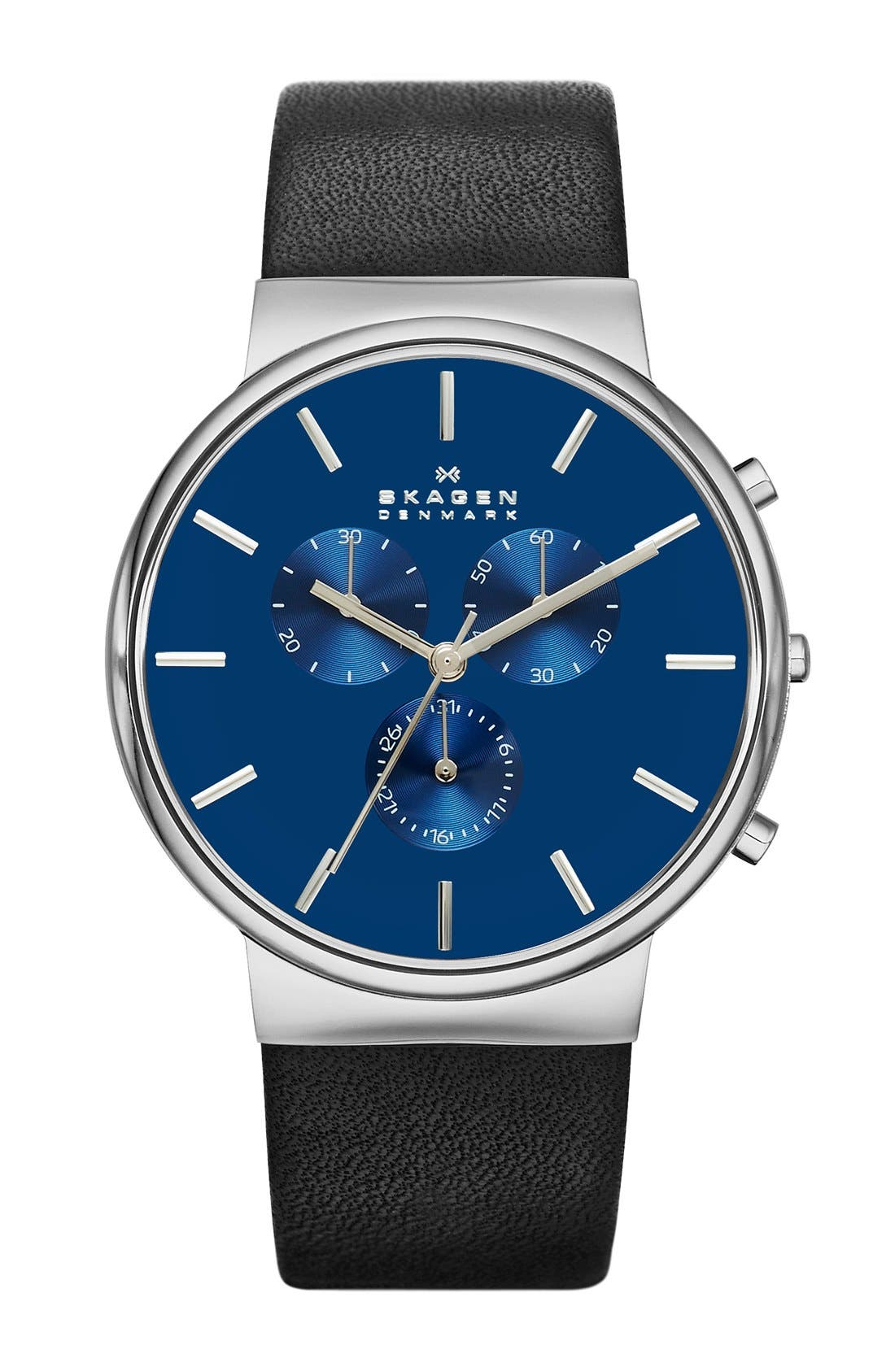 Alternate Image 1 Selected - Skagen Chronograph Leather Strap Watch, 40mm