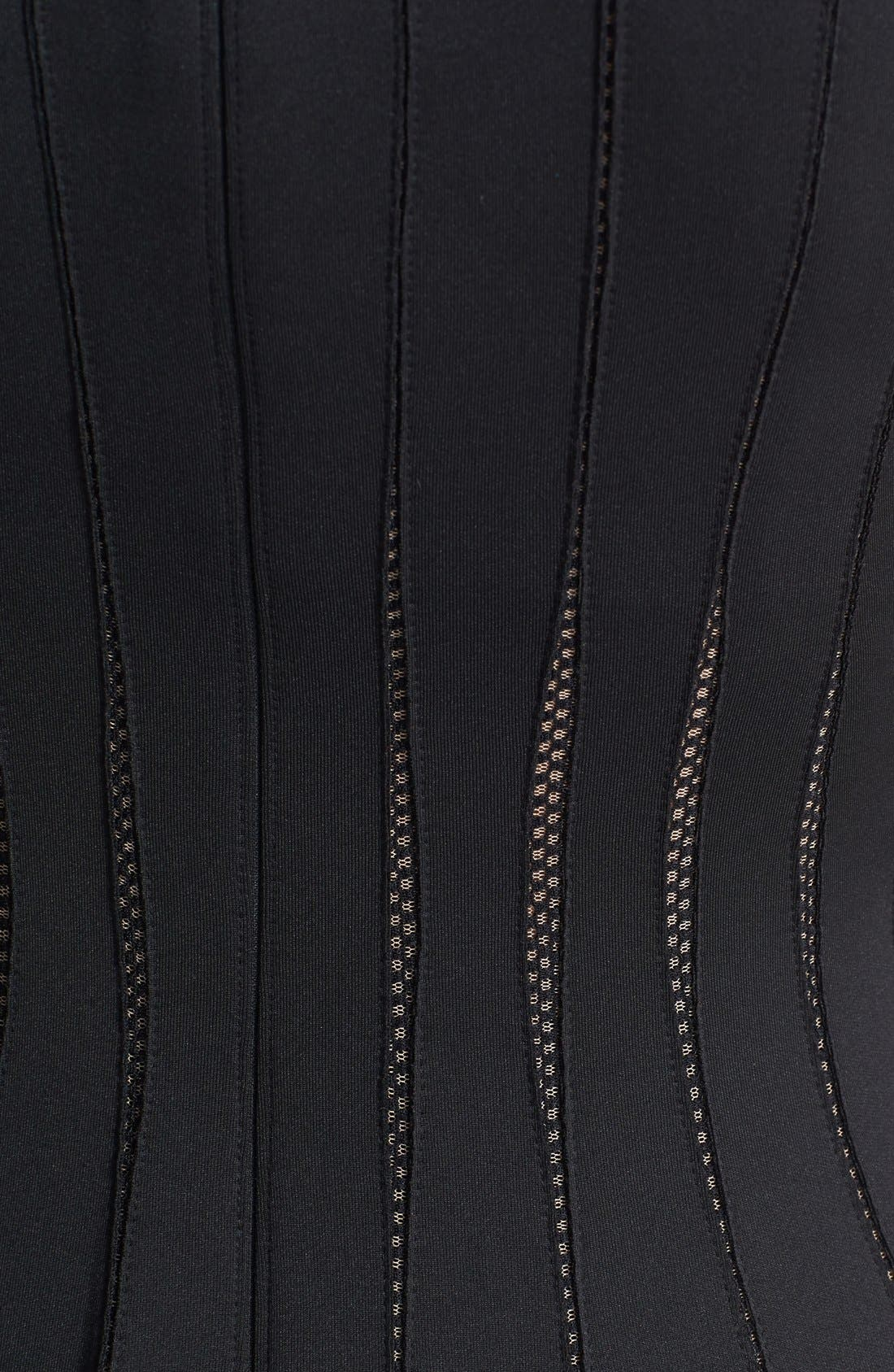 Alternate Image 4  - Tadashi Shoji Mesh Detail Knit Fit & Flare Dress