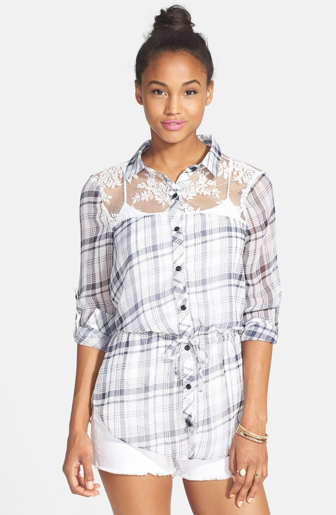 Alternate Image 1 Selected - lovposh Lace Yoke Plaid Shirt (Juniors)
