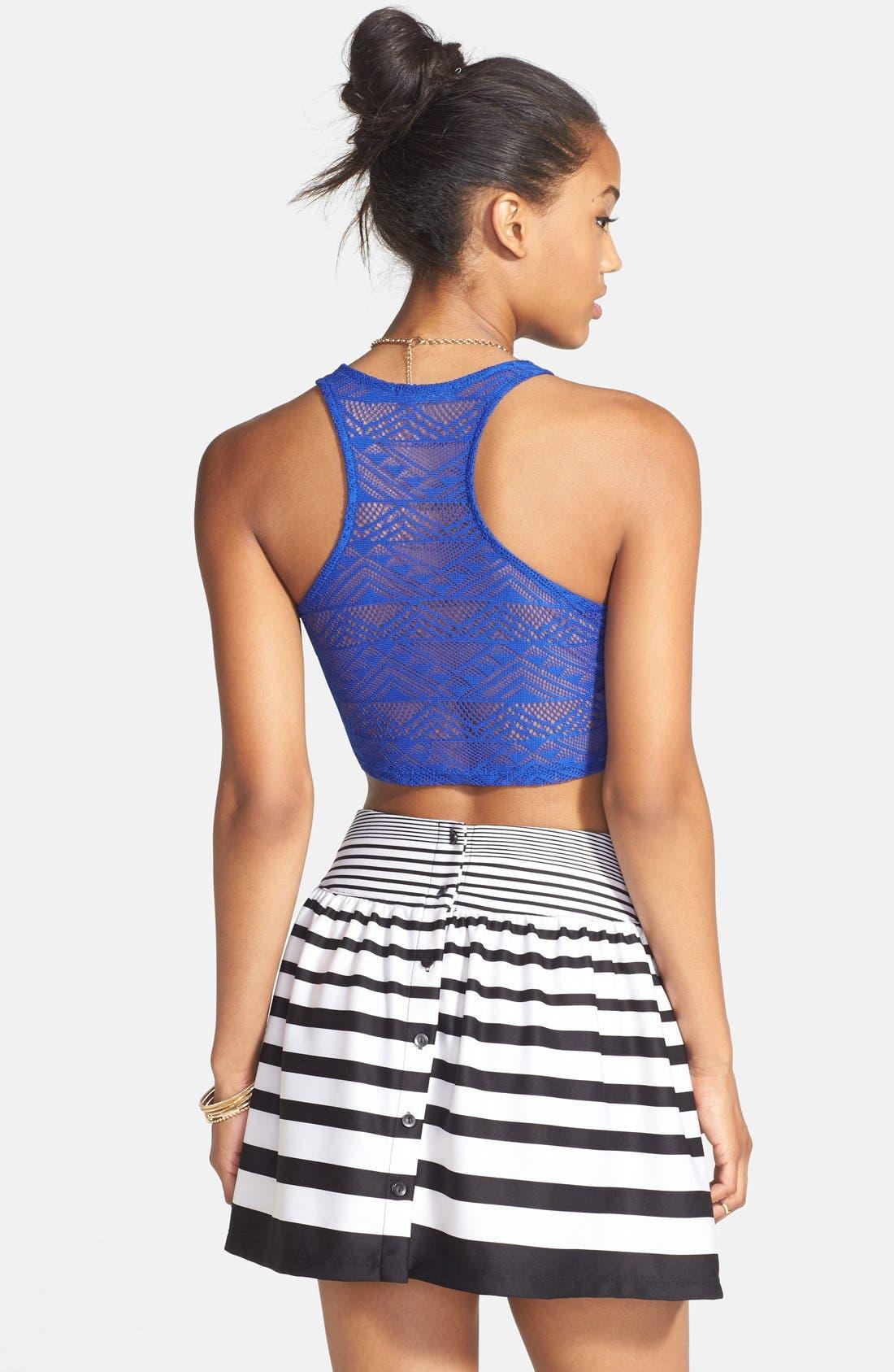 Alternate Image 2  - PPLA Button Back Stripe Skirt (Juniors)