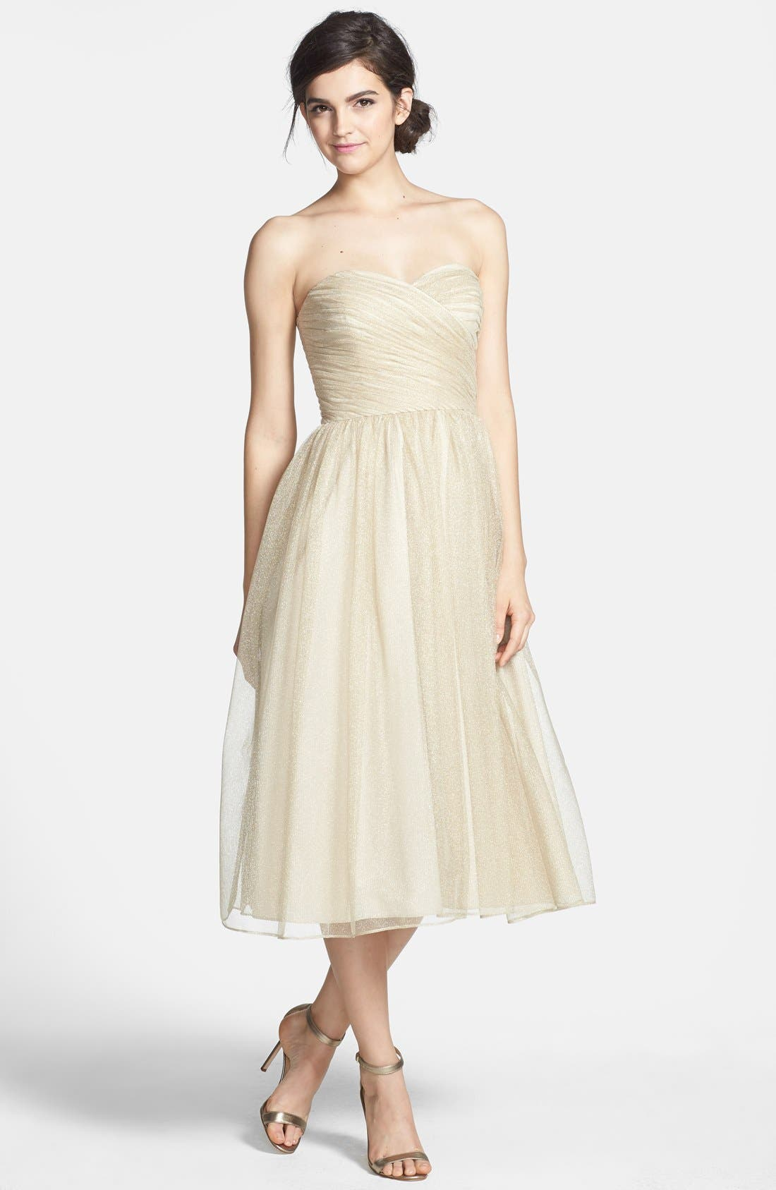 Alternate Image 1 Selected - Aidan Mattox Ruched Metallic Tea Length Tulle Fit & Flare Dress