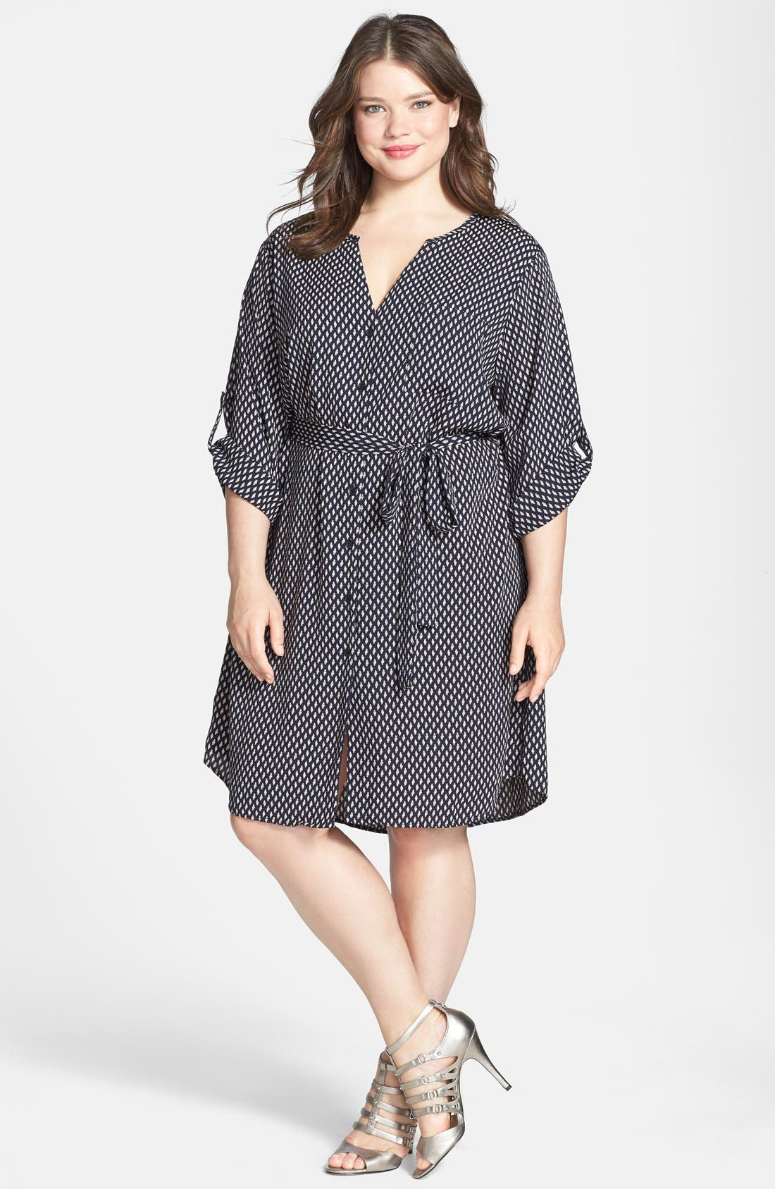 Alternate Image 1 Selected - Collective Concepts Print Roll Sleeve Shirtdress (Plus Size)