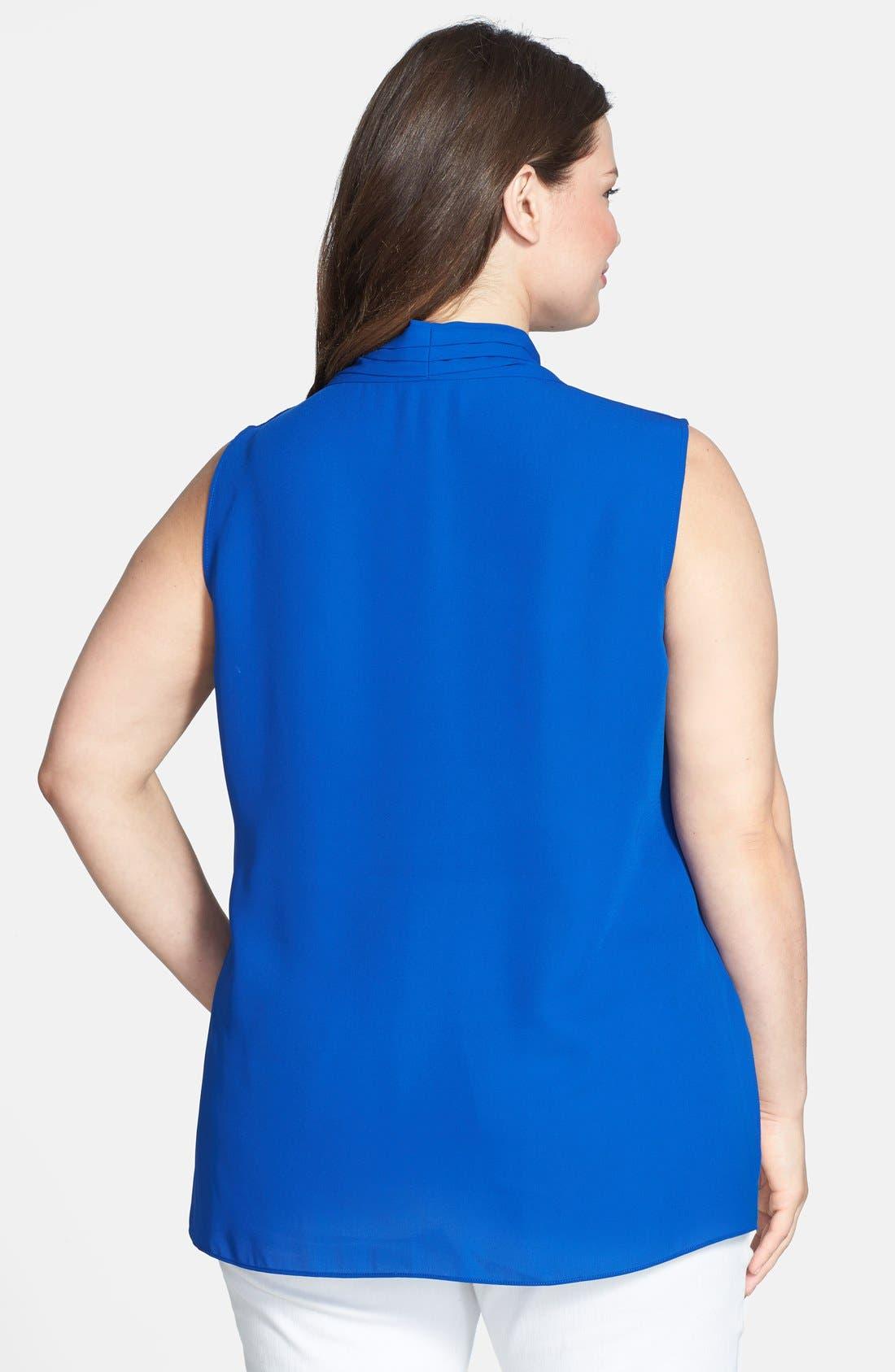 Alternate Image 2  - Vince Camuto Sleeveless Wrap Front Shirttail Blouse (Plus Size)