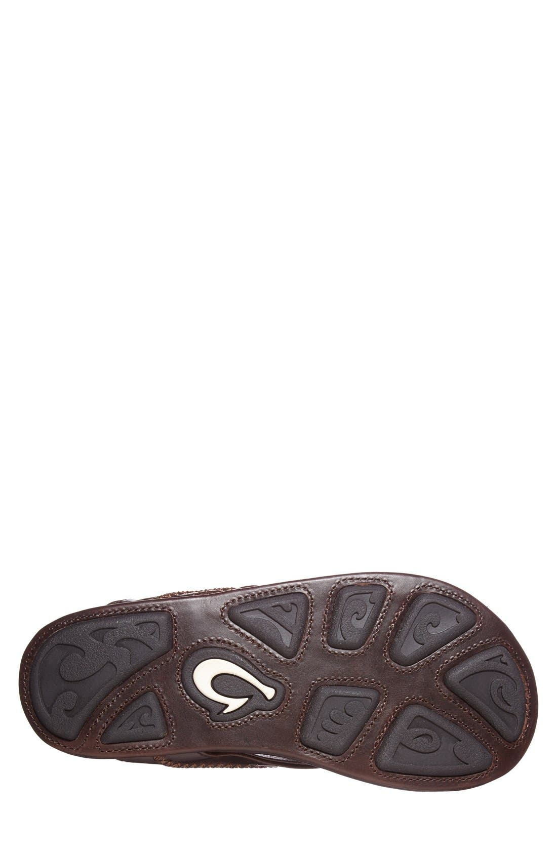 Mea Ola Flip Flop,                             Alternate thumbnail 4, color,                             Dark Java/ Dark Java Leather