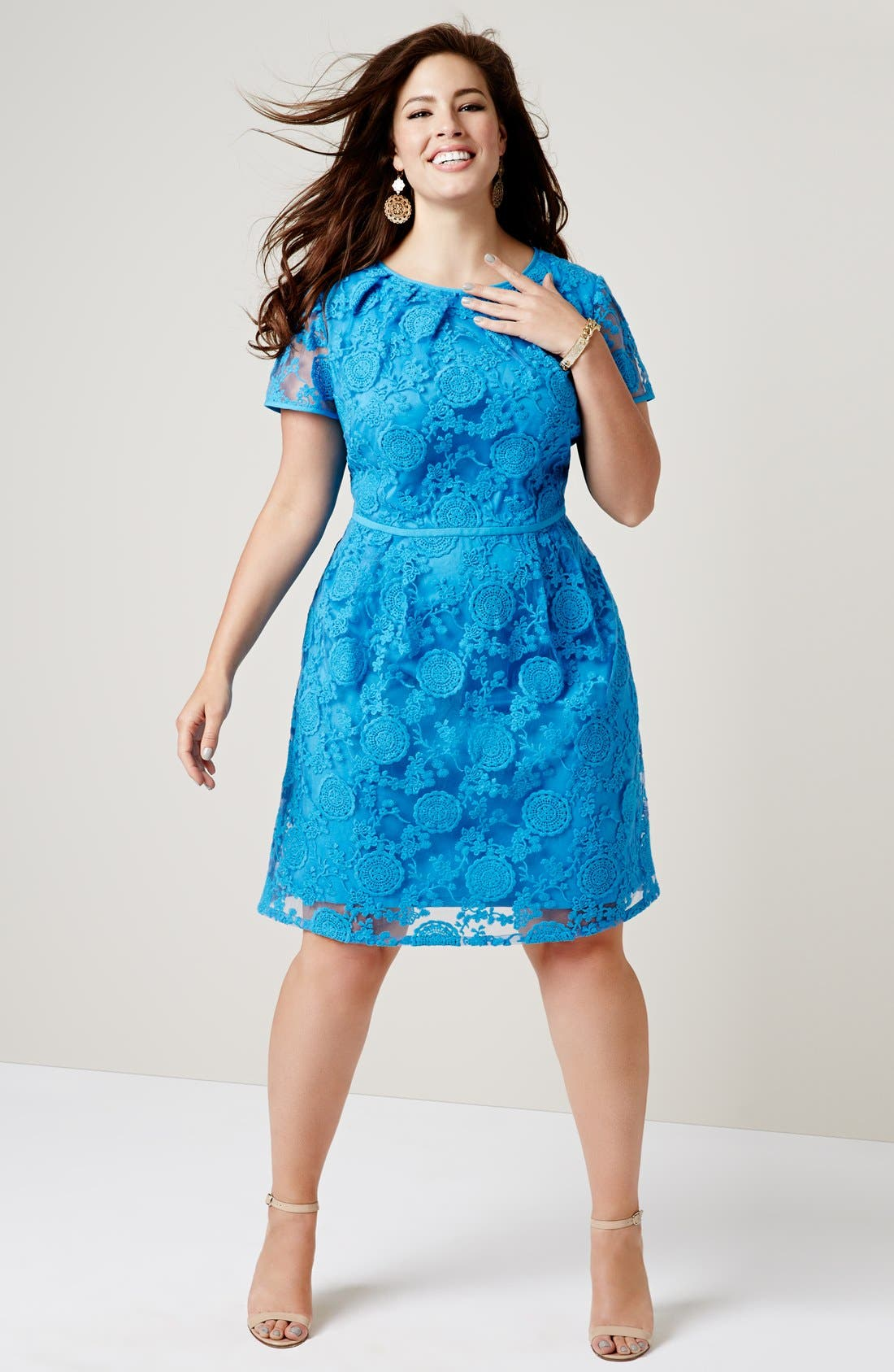 Alternate Image 5  - Adrianna Papell 'Pleats' Lace Dress (Plus Size)