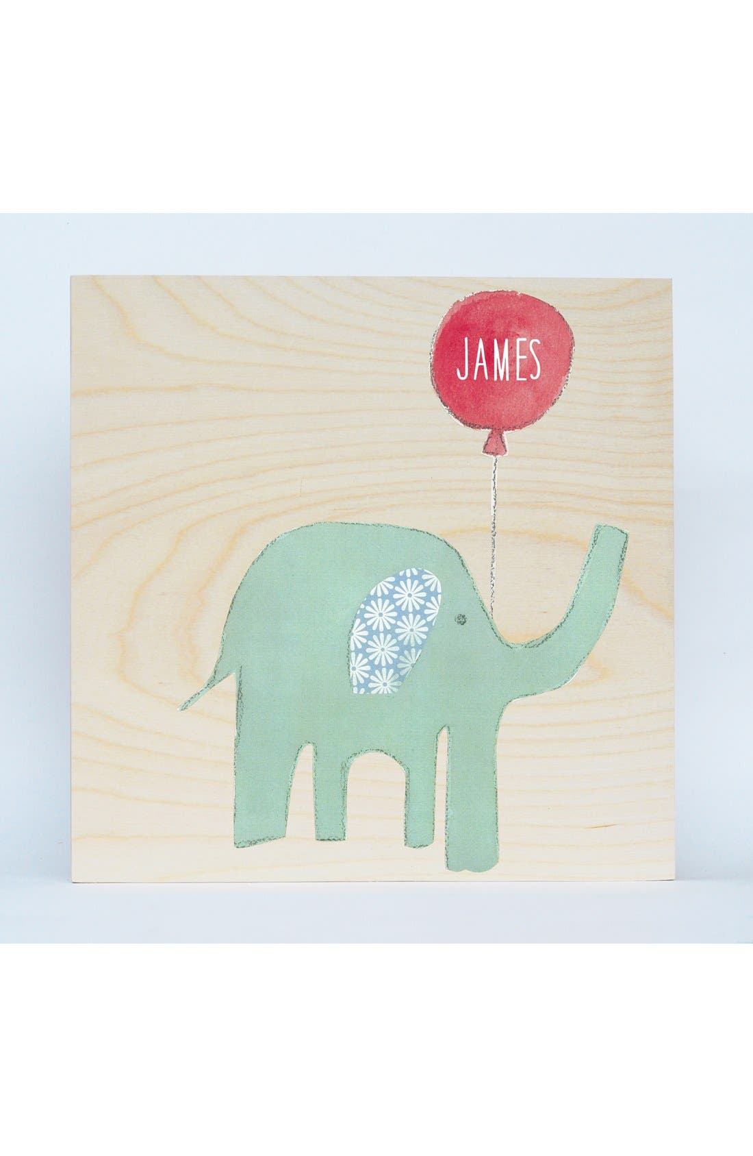 'Elephant' Personalized Birchwood Wall Art,                         Main,                         color, Blue