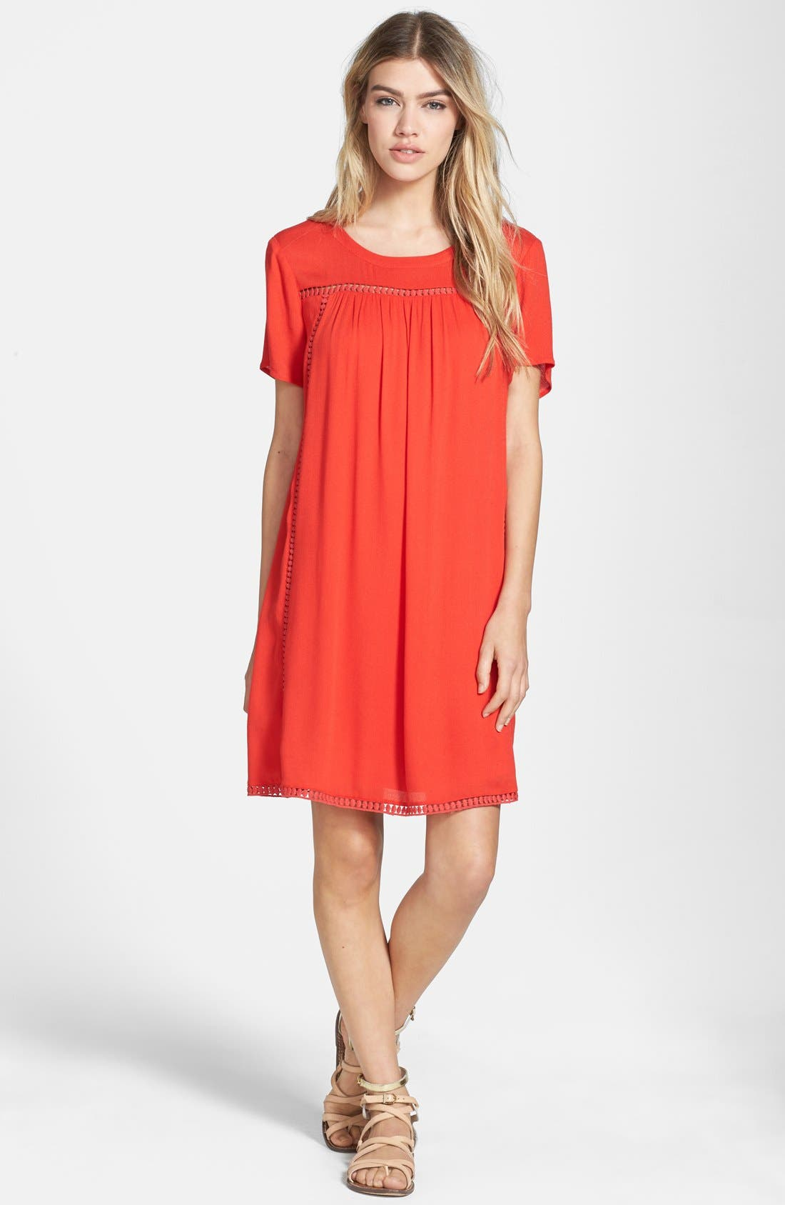 Alternate Image 1 Selected - Ella Moss 'Stella' Lattice Trim Shift Dress