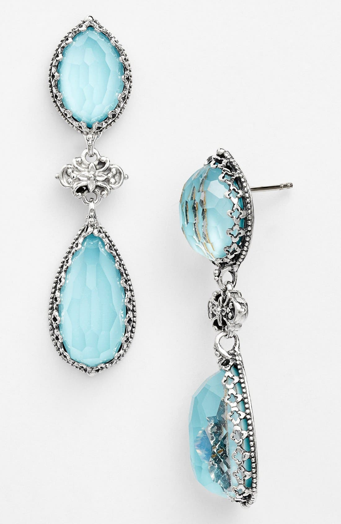 'Aegean' Drop Earrings,                             Main thumbnail 1, color,                             Silver/ Turquoise