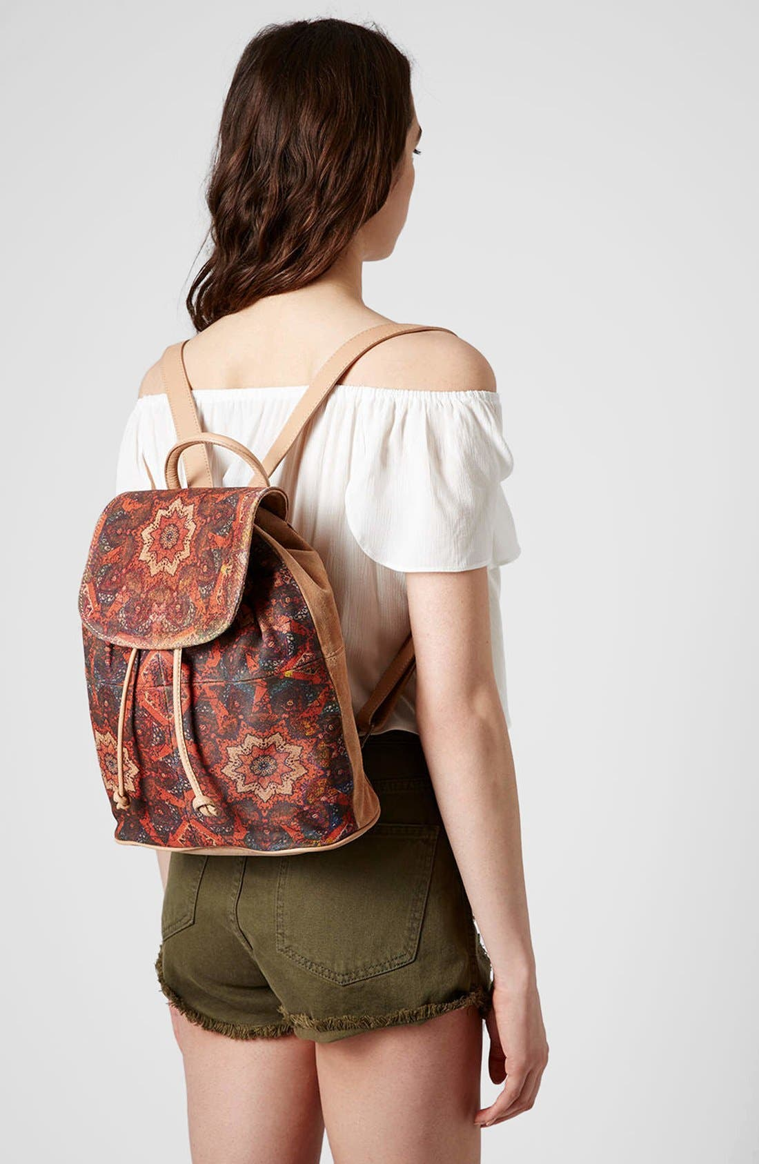 Alternate Image 2  - Topshop Print Suede Backpack