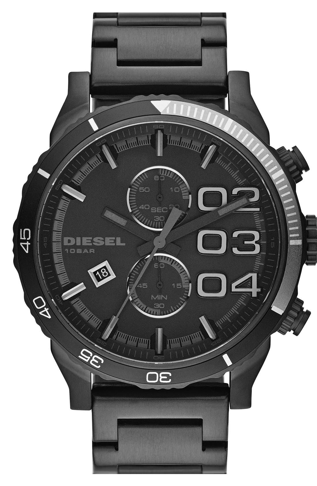 Alternate Image 1 Selected - DIESEL® 'Double Down 2.0' Chronograph Bracelet Watch, 48mm