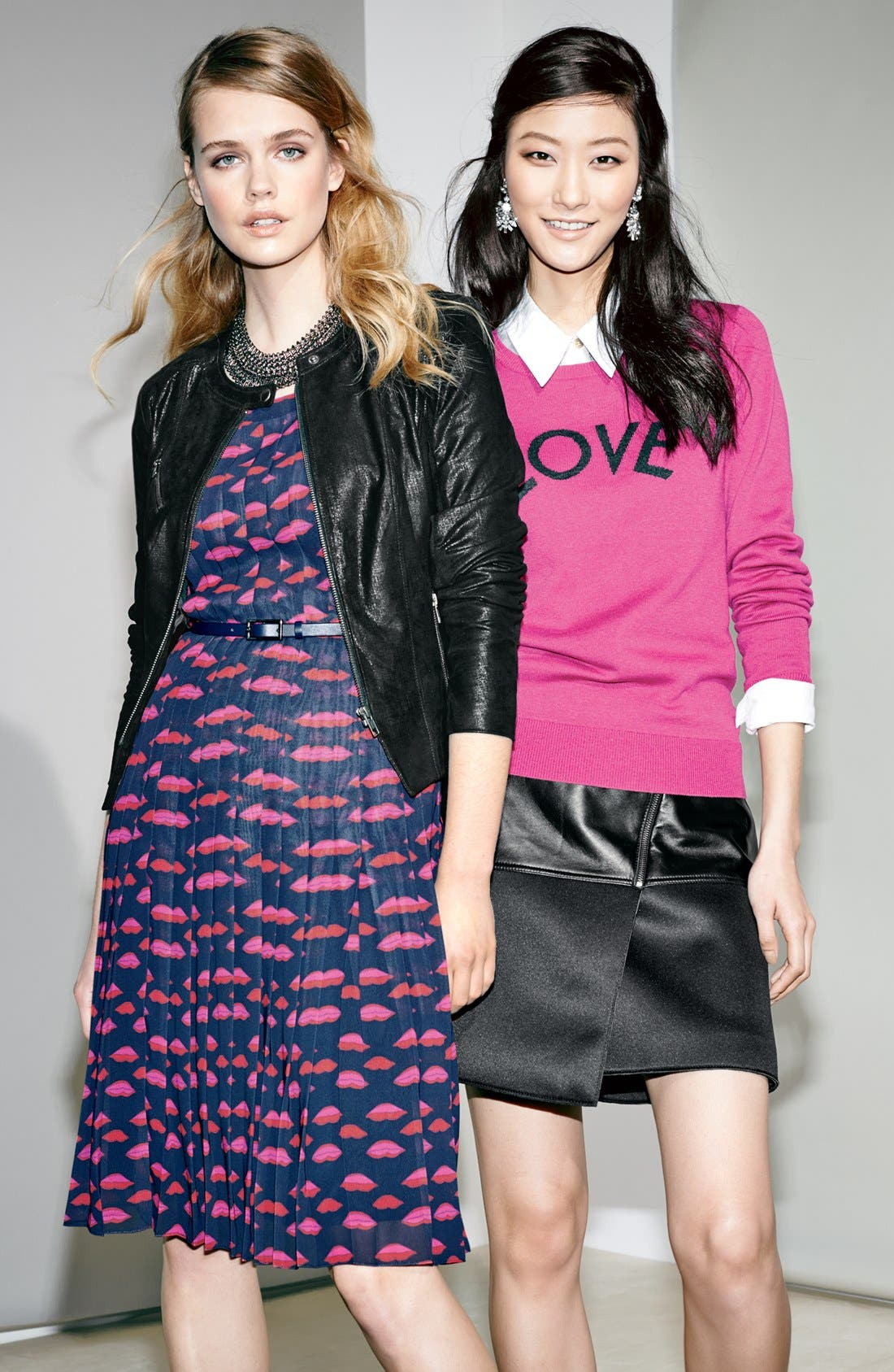 Alternate Image 7  - Halogen® Asymmetrical Zip Leather & Scuba Knit Skirt (Regular & Petite)