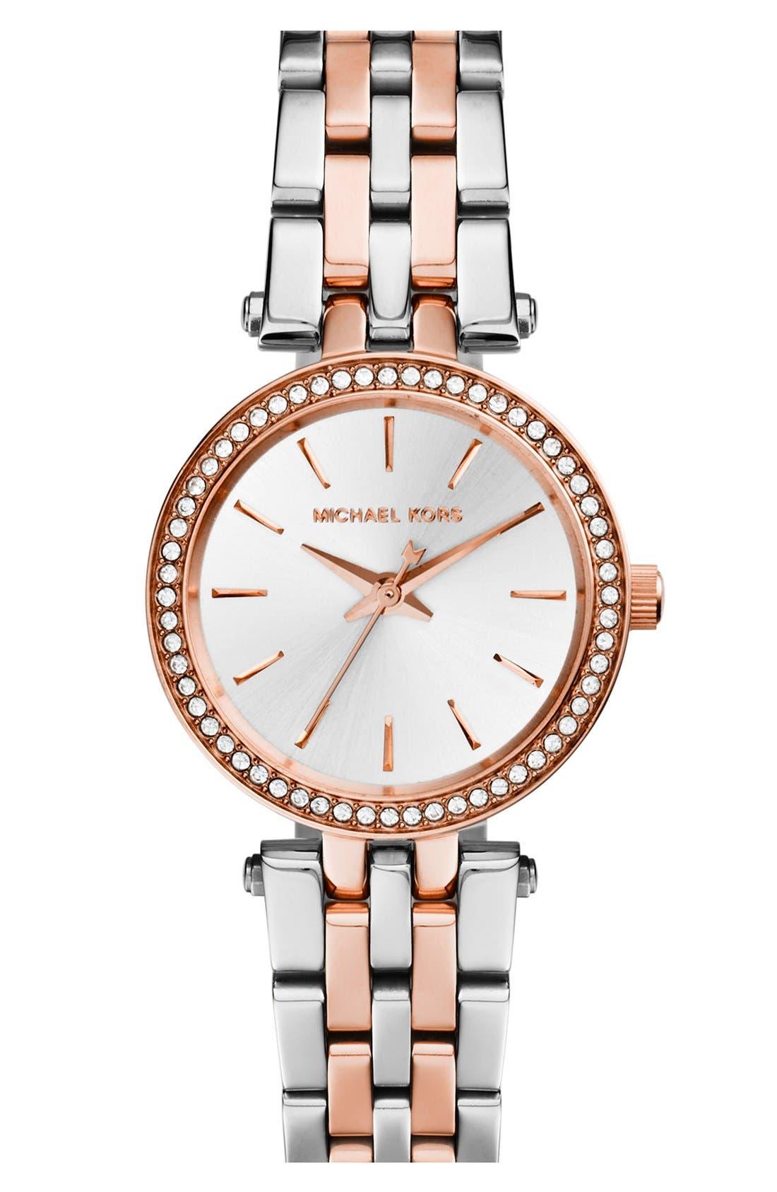 'Petite Darci' Crystal Bezel Bracelet Watch, 26mm,                             Main thumbnail 1, color,                             Silver/ Rose Gold