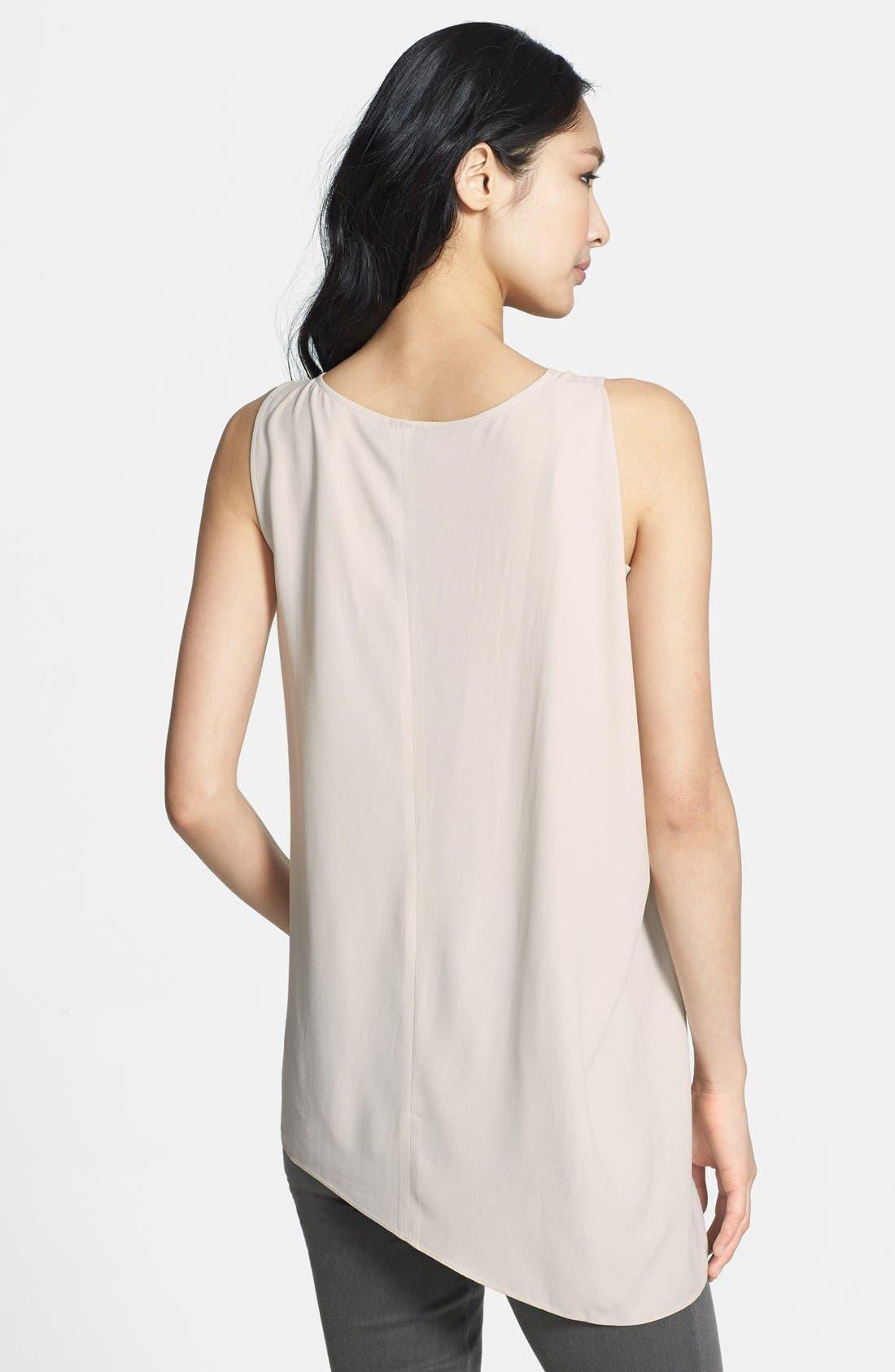 U-Neck Drape Side Silk Shell,                             Alternate thumbnail 2, color,                             Bone