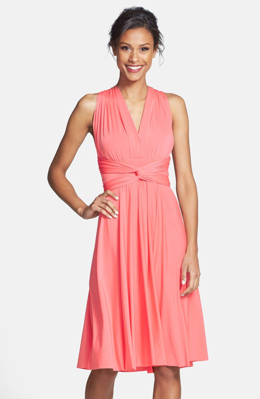 Main Image - Dessy Collection Convertible Wrap Tie Surplice Jersey Dress