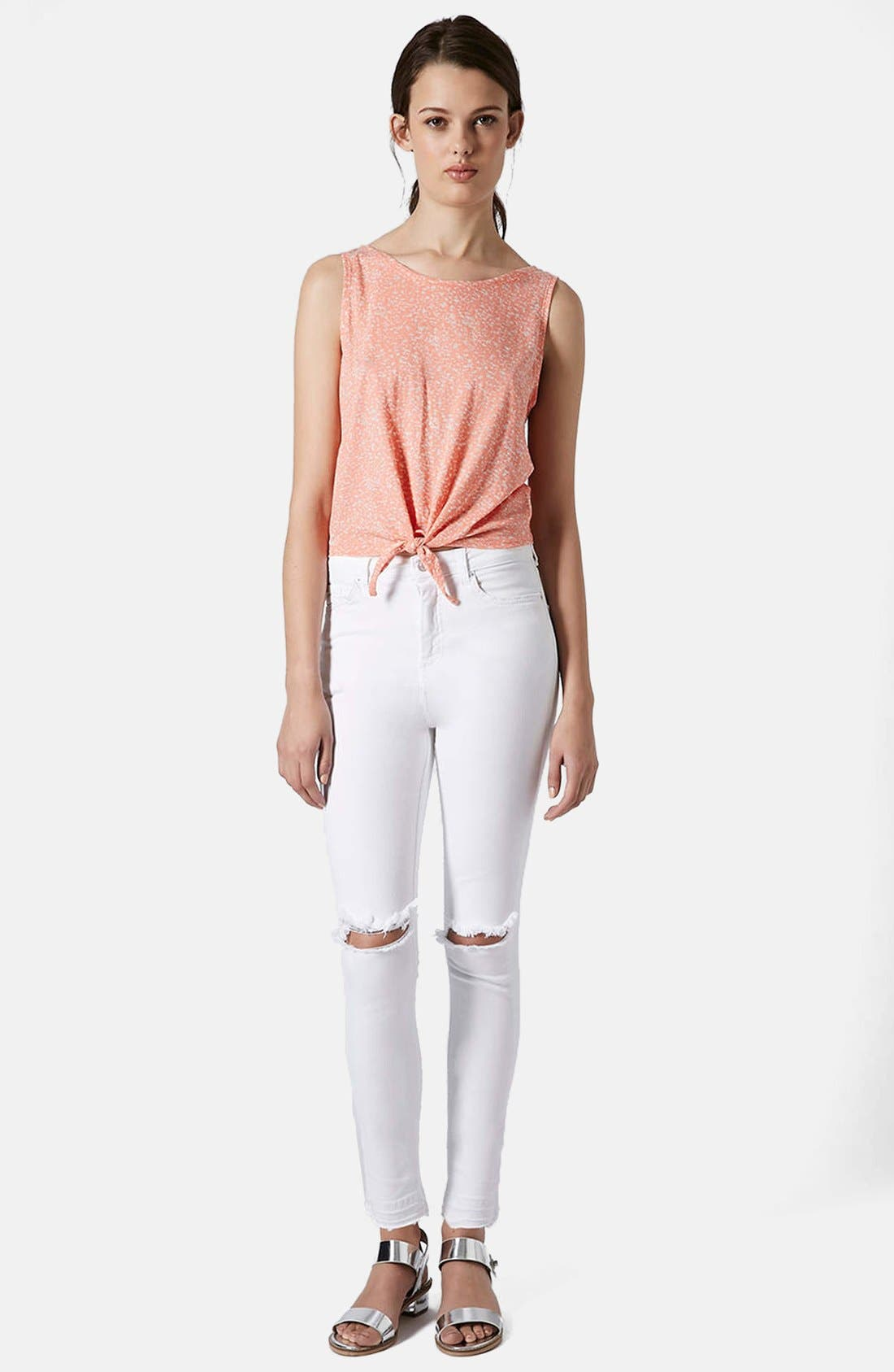 Alternate Image 5  - Topshop Moto 'Jamie' Ripped High Rise Ankle Skinny Jeans (White) (Regular & Short)