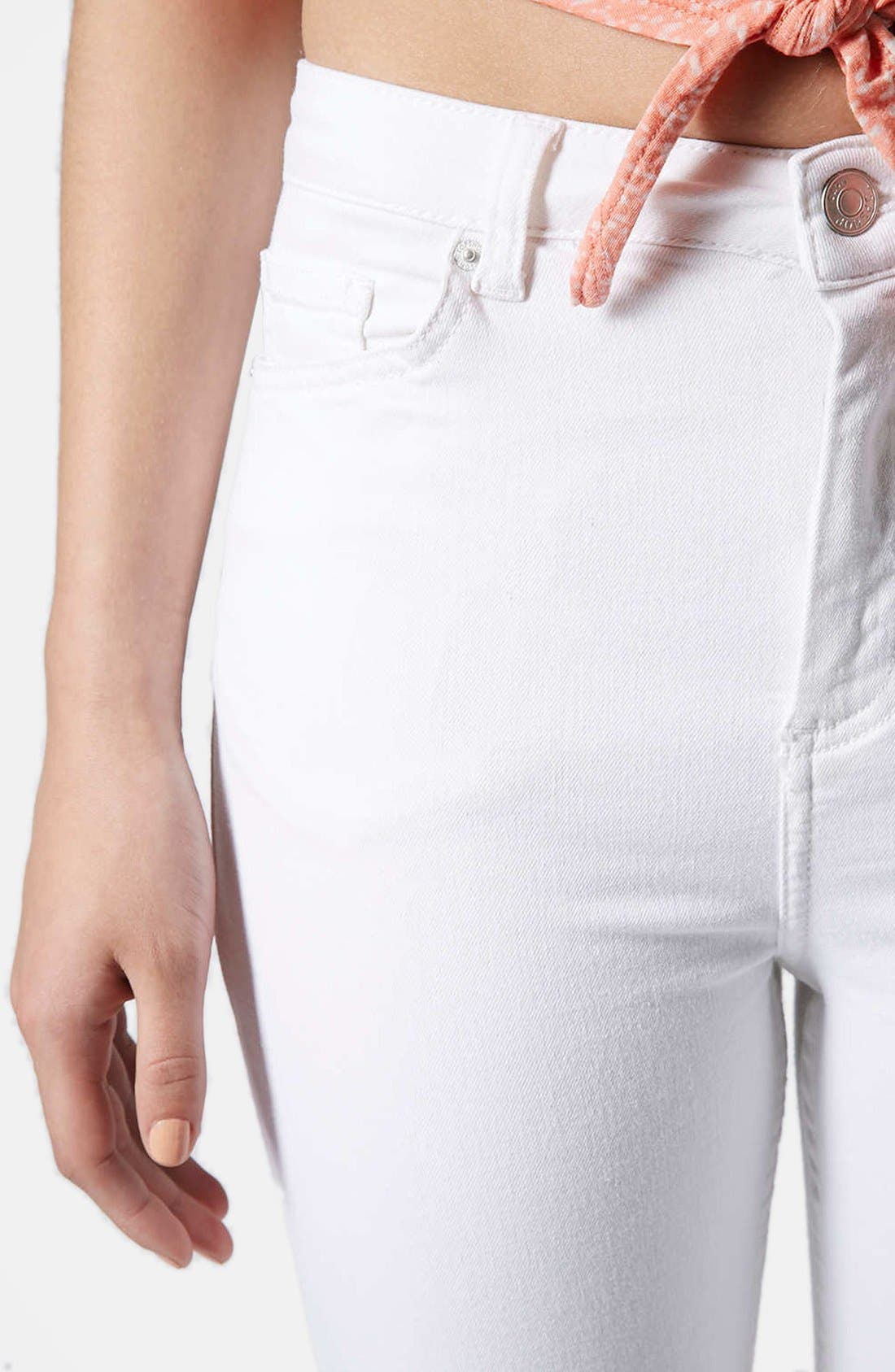 Alternate Image 4  - Topshop Moto 'Jamie' Ripped High Rise Ankle Skinny Jeans (White) (Regular & Short)