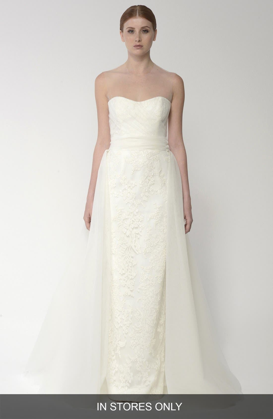 Main Image - BLISS Monique Lhuillier Embroidered Lace Gown with Detachable Tulle Overskirt