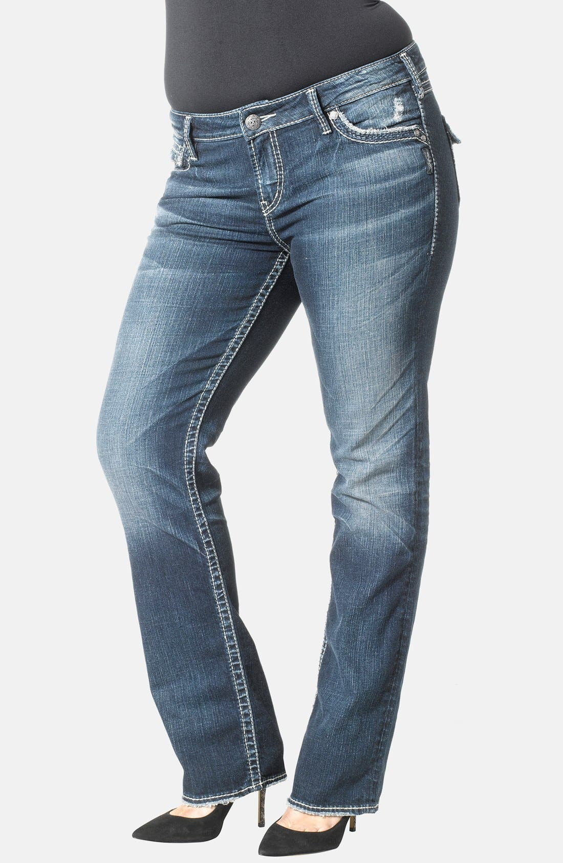 Main Image - Silver Jeans Co. 'Aiko' Distressed Flap Pocket Straight Leg Jeans (Plus Size)