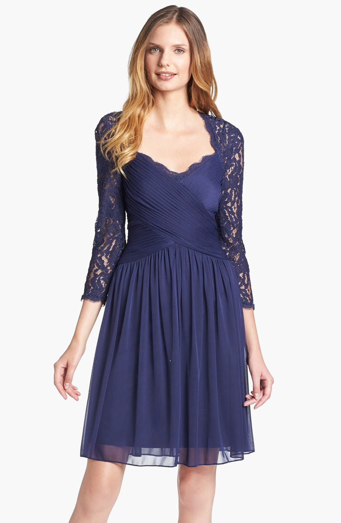 Alternate Image 1 Selected - Adrianna Papell Lace Sleeve Mesh Fit & Flare Dress