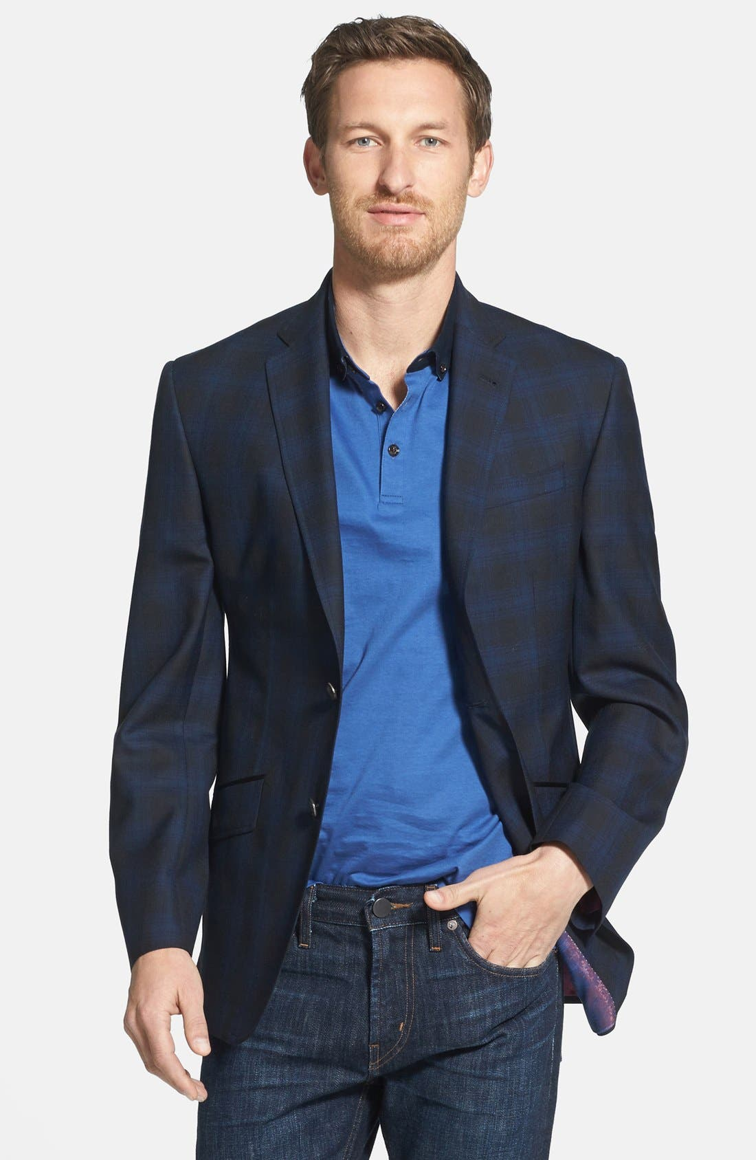 Main Image - Ted Baker London 'Jerry' Trim Fit Plaid Sport Coat