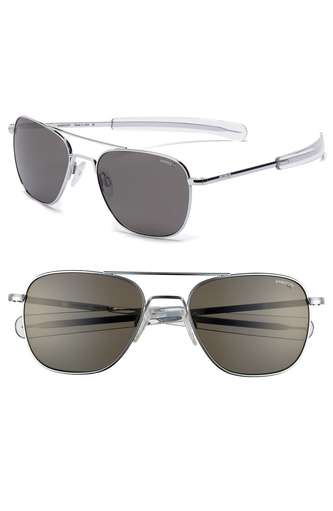 55mm Polarized Aviator Sunglasses,                             Main thumbnail 1, color,                             Bright Chrome/ Grey