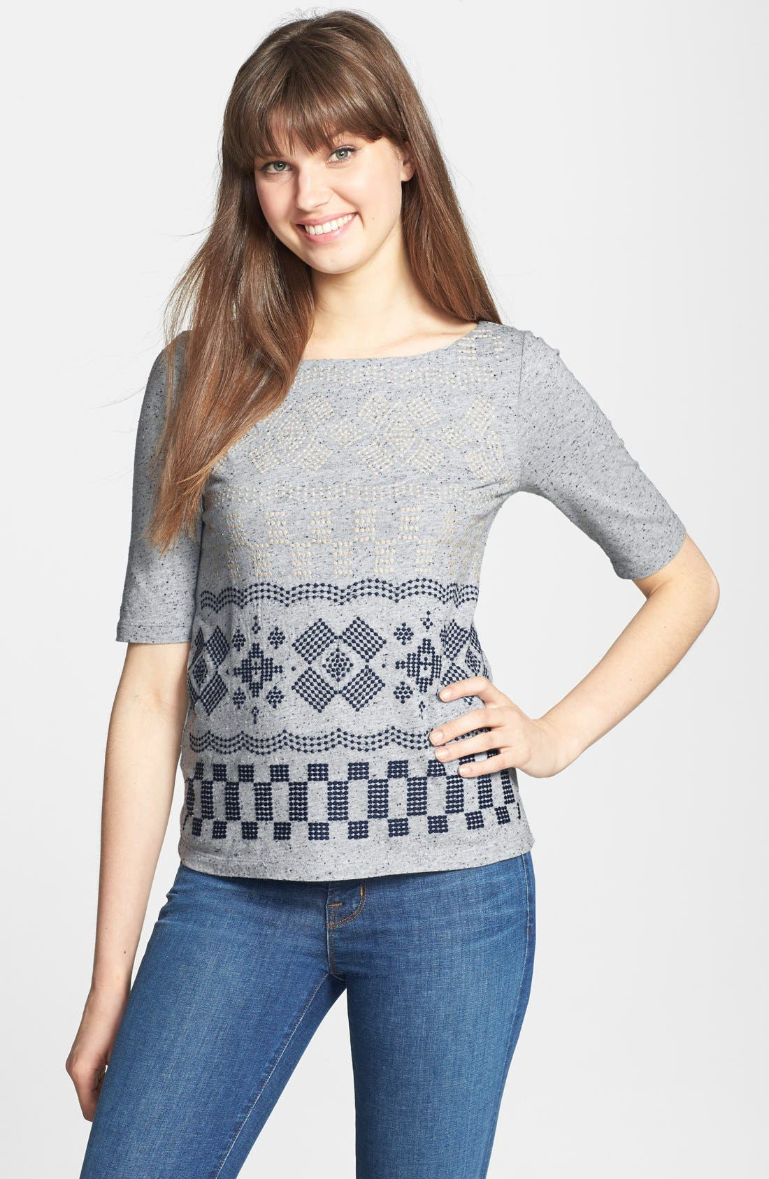 Main Image - Lucky Brand 'Faye' Embroidered Boatneck Tee