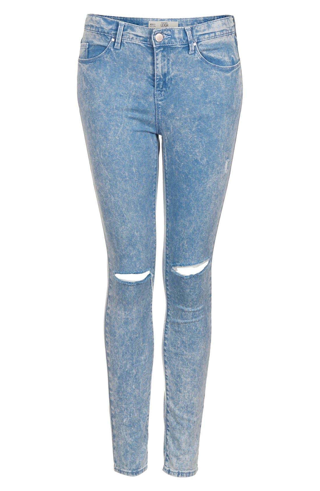 Alternate Image 3  - Topshop Moto 'Leigh' Acid Wash Ripped Skinny Jeans (Light Blue) (Regular & Short)