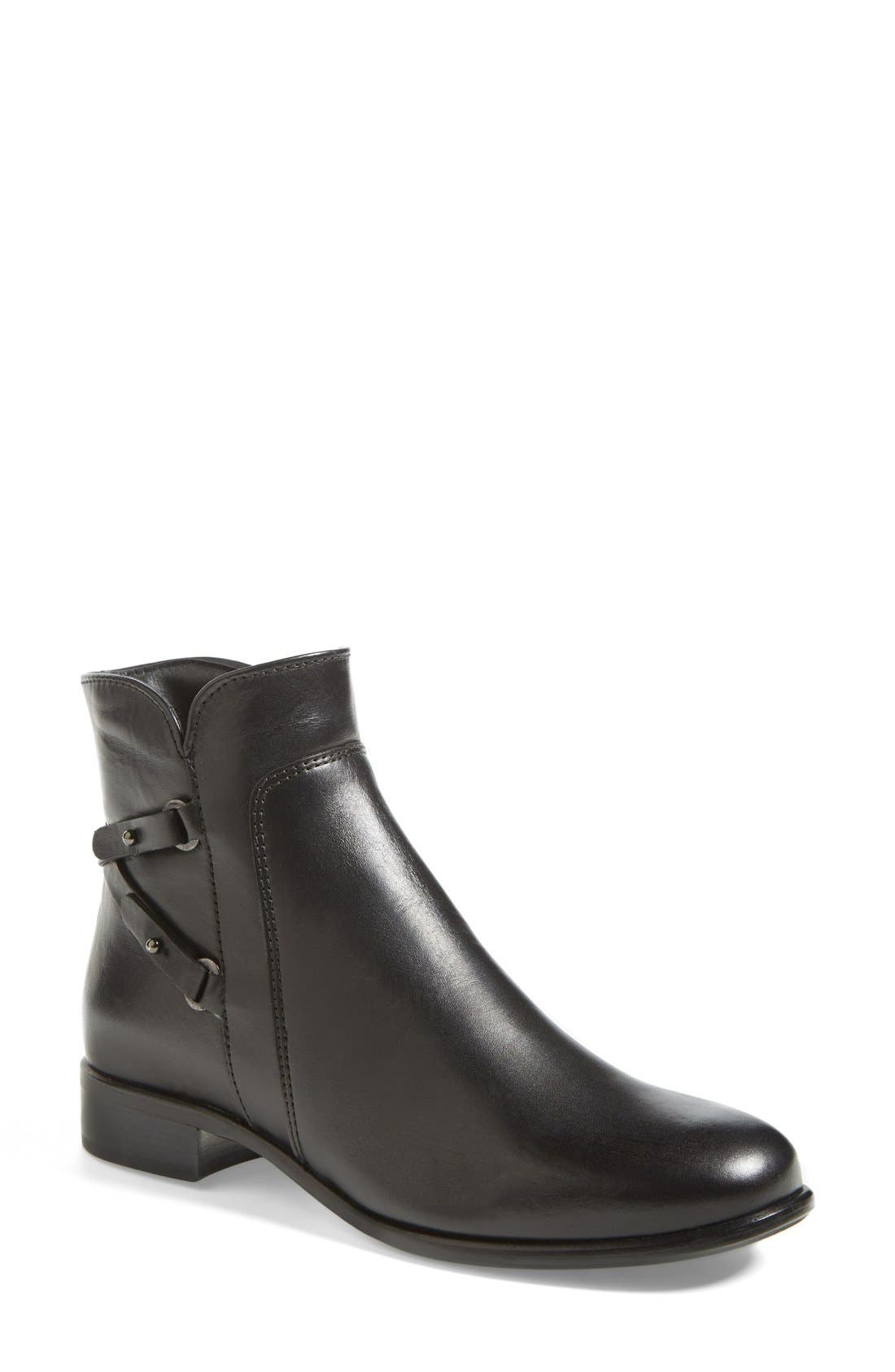 'Sharon' Waterproof Bootie,                             Main thumbnail 1, color,                             Black Leather