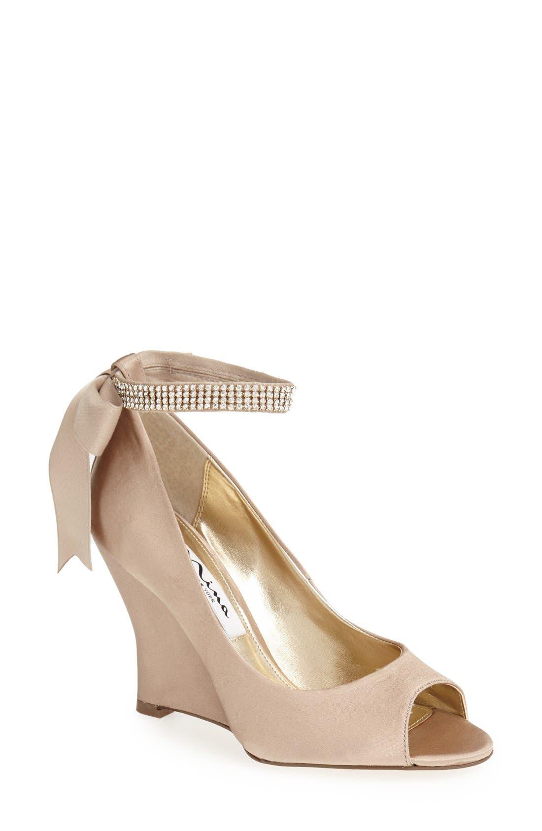 'Emma' Crystal Embellished Ankle Strap Pump,                             Main thumbnail 1, color,                             Champagne Satin
