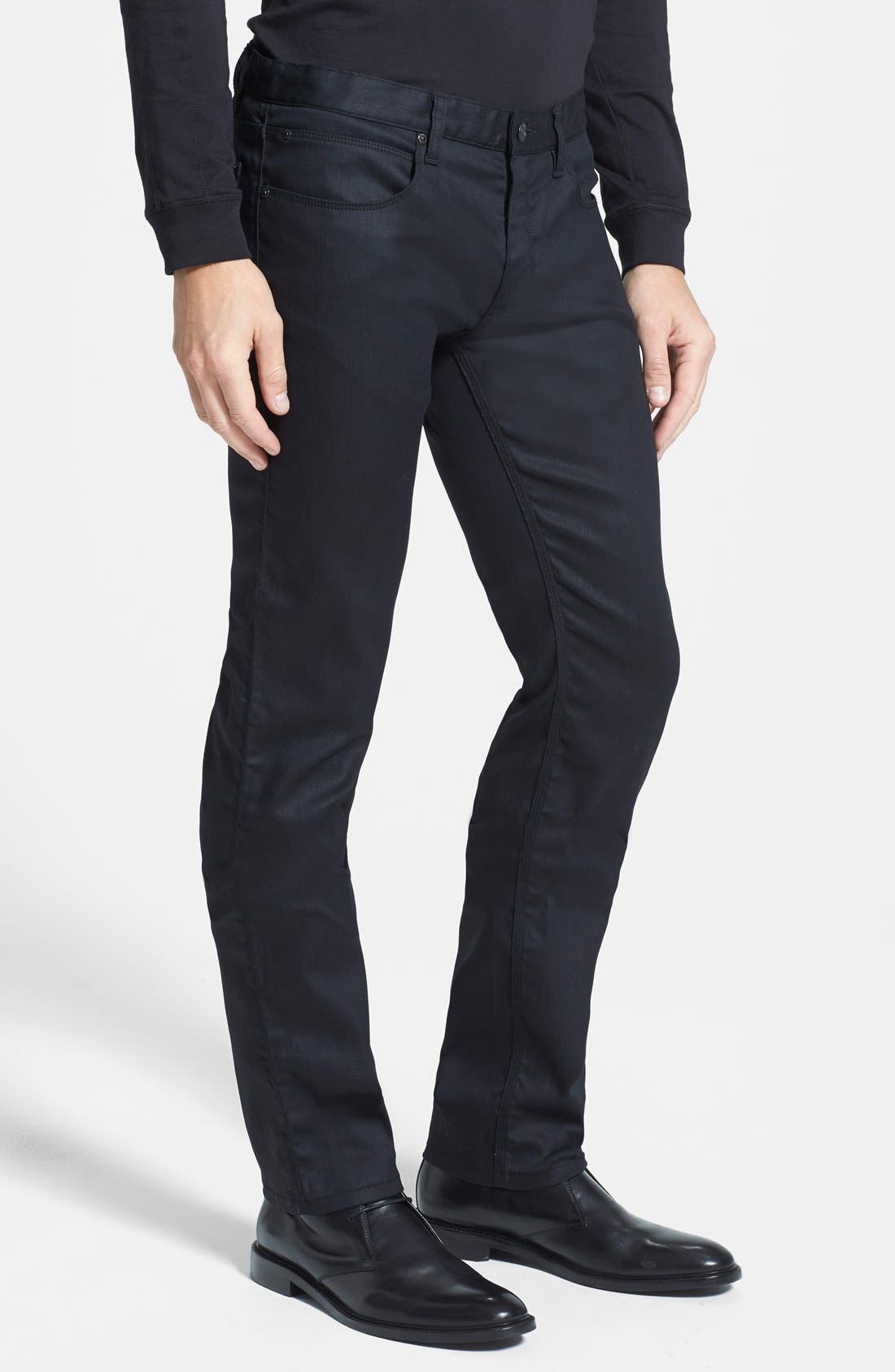 HUGO '708' Slim Fit Jeans,                             Alternate thumbnail 3, color,                             Black