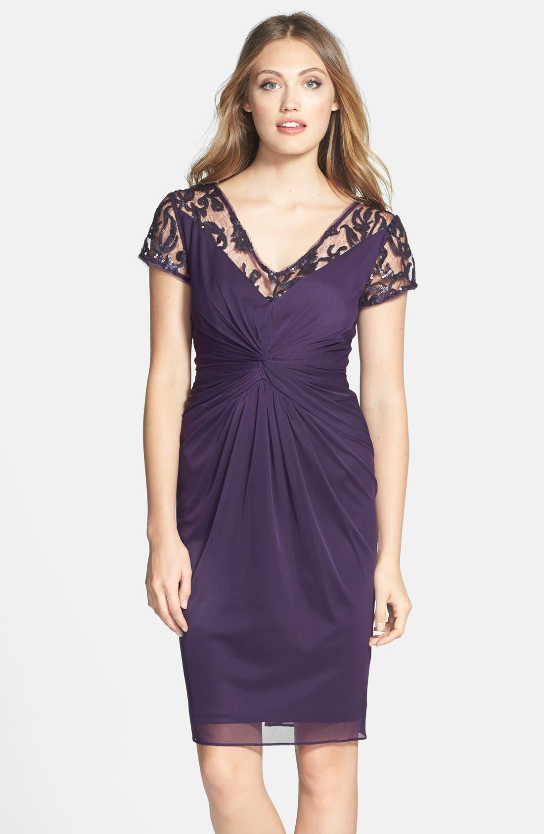 Alternate Image 1 Selected - Adrianna Papell Sequin Lace & Tulle Sheath Dress