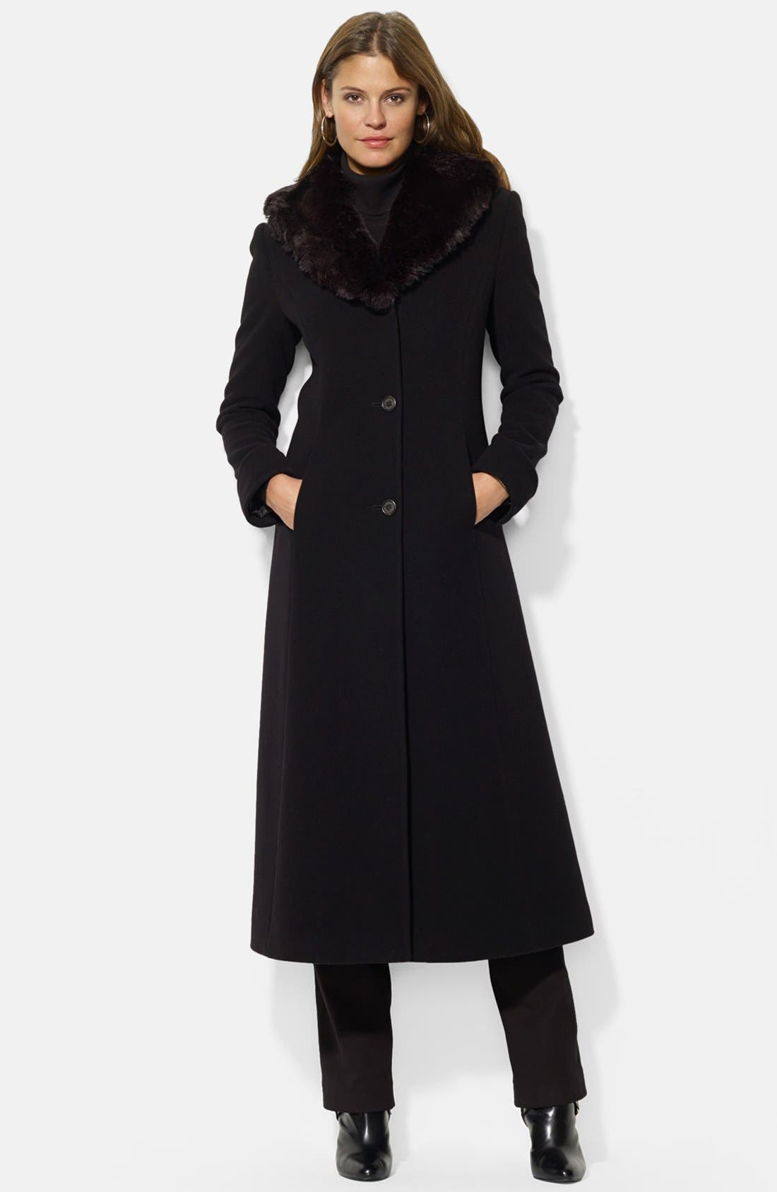 Lauren Ralph Lauren Faux Fur Shawl Collar Long Wool Blend Coat (Online Only)