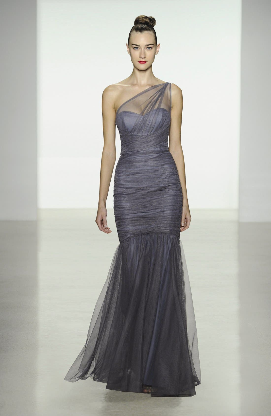 Alternate Image 4  - Amsale One-Shoulder Tulle Mermaid Gown