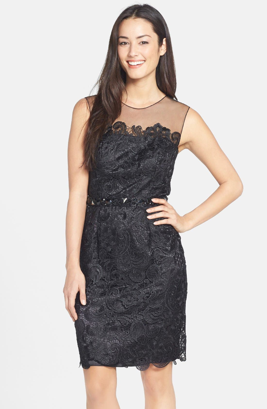 Alternate Image 1 Selected - Mikael Aghal Bead Embellished Lace Illusion Dress