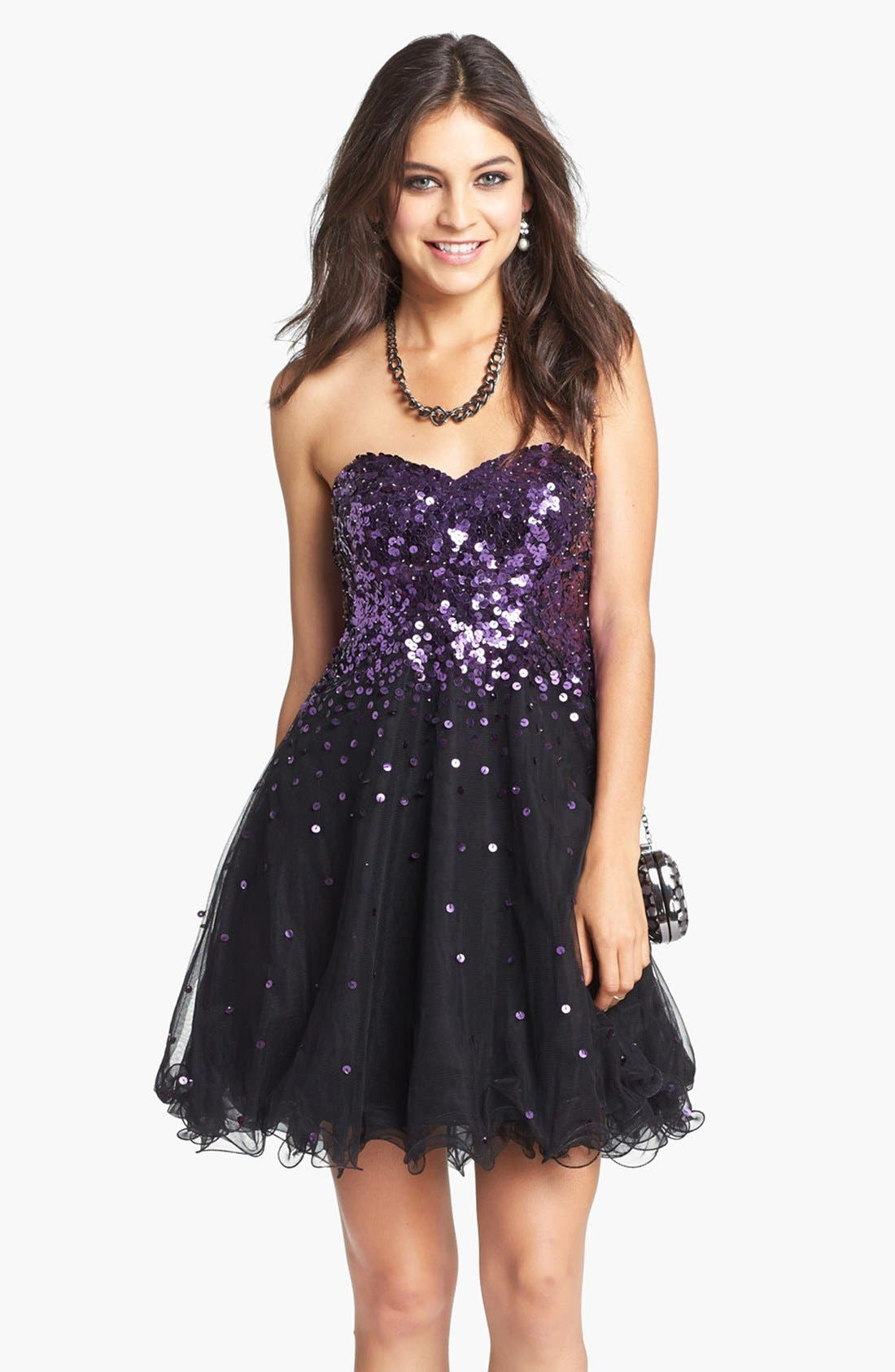 Alternate Image 1 Selected - Sean Collection Embellished Tulle Fit & Flare Dress