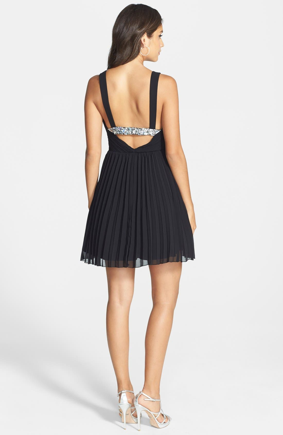 Alternate Image 2  - Way-In Embellished Pleated Skater Dress (Juniors)