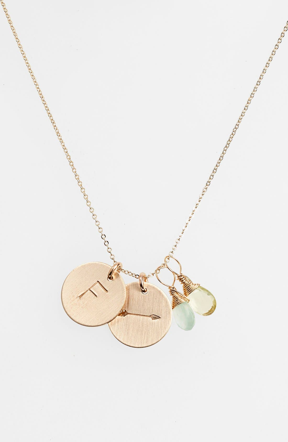 Aqua Chalcedony, Lemon Quartz, Initial & Arrow 14k-Gold Fill Disc Necklace,                         Main,                         color, Aqua And Lemon F