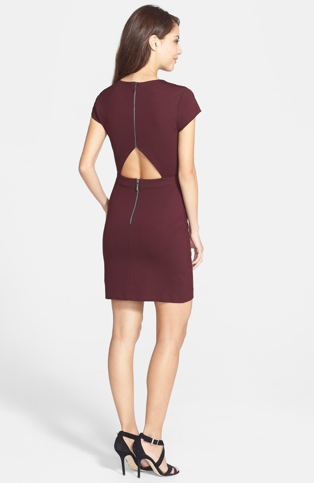 Alternate Image 2  - Nicole Miller Open Back Ponte Body-Con Dress