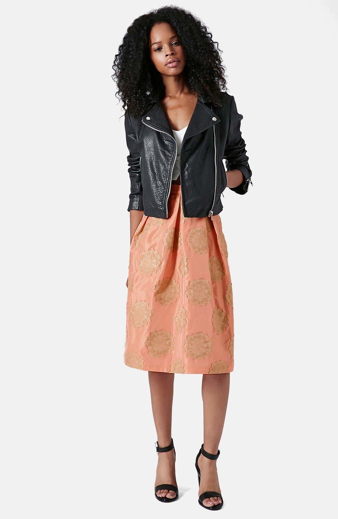 Alternate Image 5  - Topshop Metallic Lace Jacquard Midi Skirt