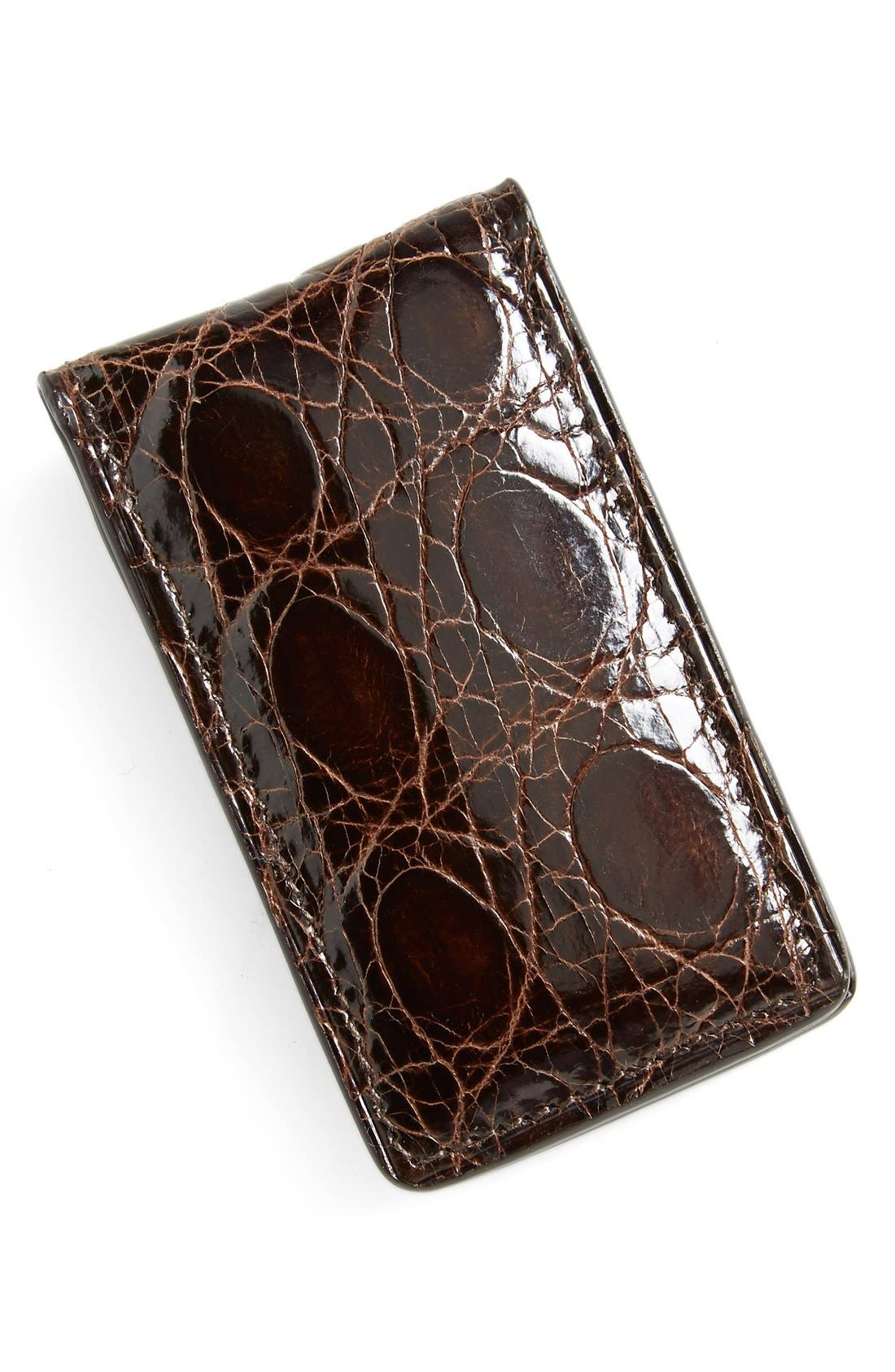 Crocodile Magnetic Money Clip,                             Main thumbnail 1, color,                             Brown