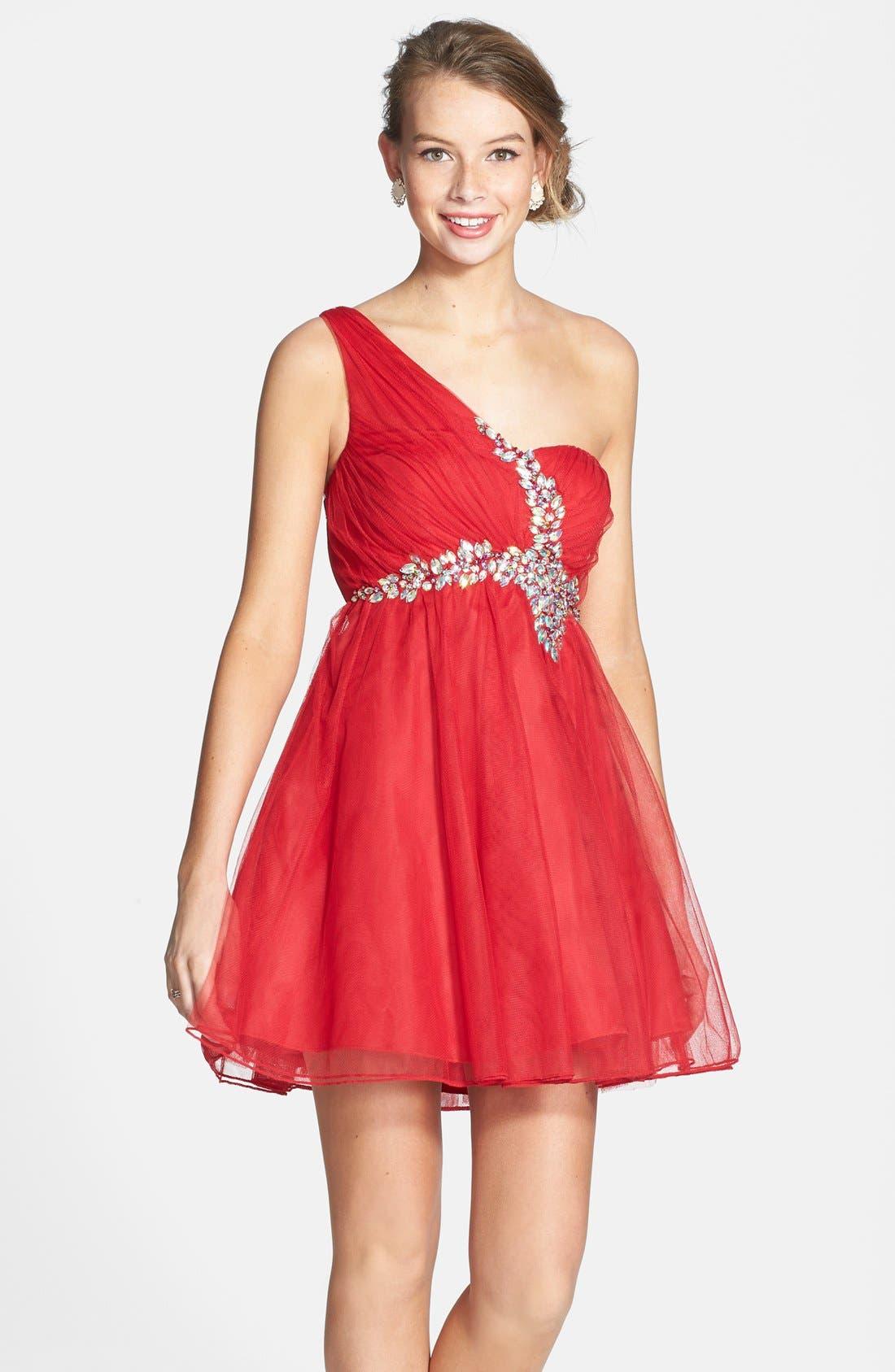 Main Image - Sequin Hearts Single Shoulder Party Dress (Juniors)